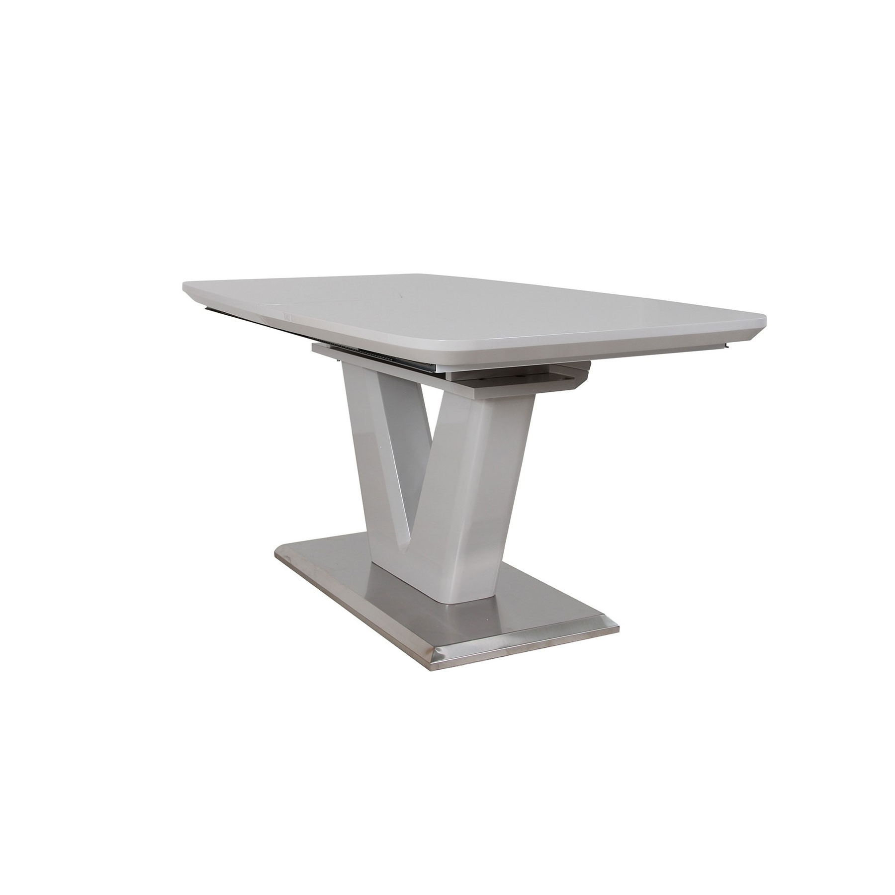 Fashionable Vigo Light Grey High Gloss 220Cm Extending Dining Table With High Gloss Extending Dining Tables (View 20 of 25)