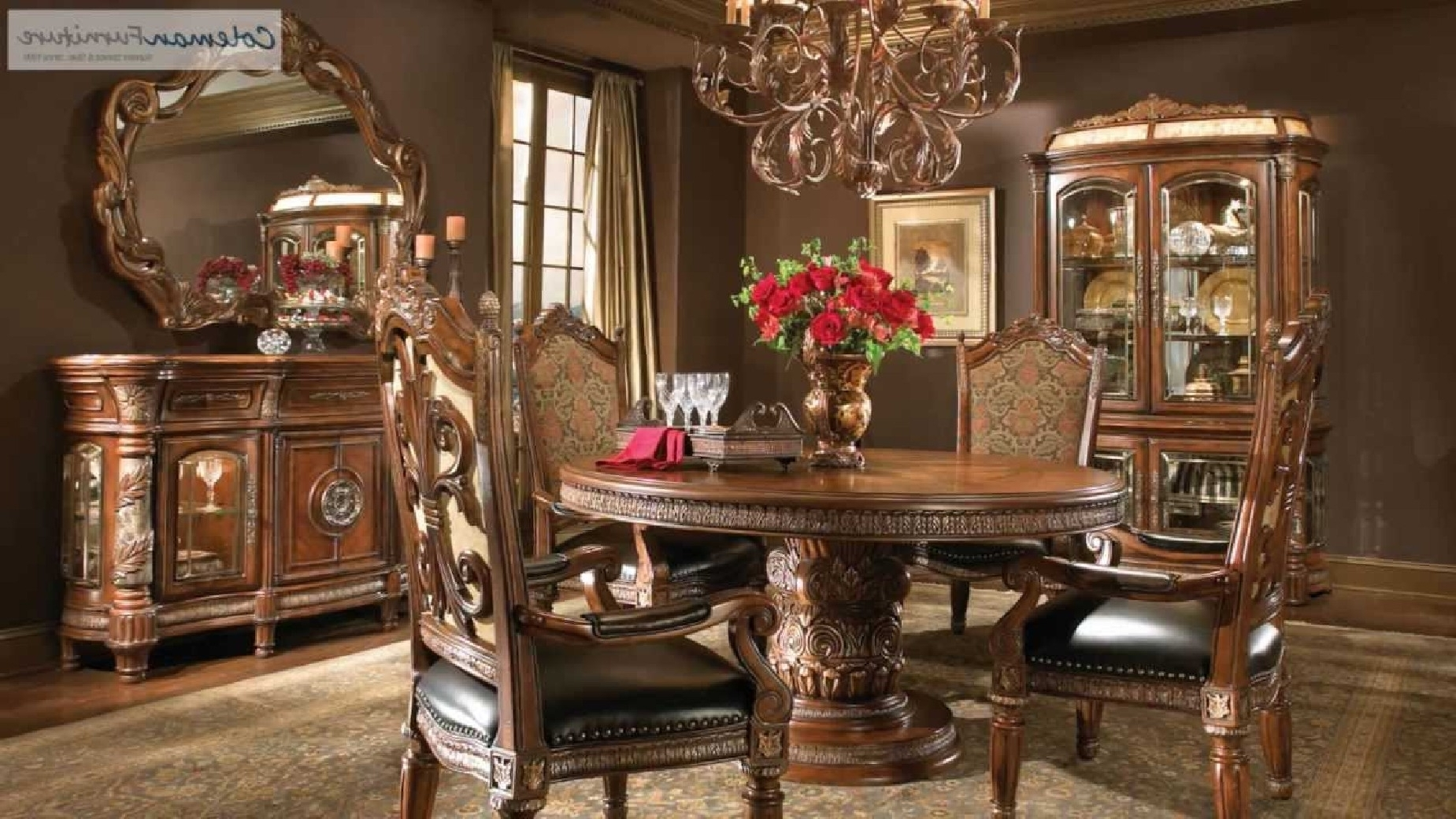 Fashionable Villa Valencia 5 Pc Round Dining Room Setmichael Amini With Regard To Valencia 60 Inch Round Dining Tables (View 11 of 25)