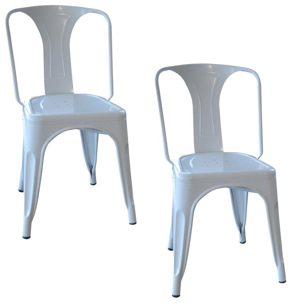 Fashionable White Dining Chairs Regarding Amerihome White Metal Dining Chair (Set Of 2) Bs3530Wset – The Home (Gallery 17 of 25)