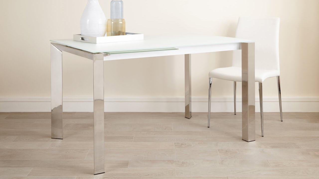 Fashionable White Frosted Glass Extending Dining Table With Chrome Legs Within Glass Extending Dining Tables (View 10 of 25)