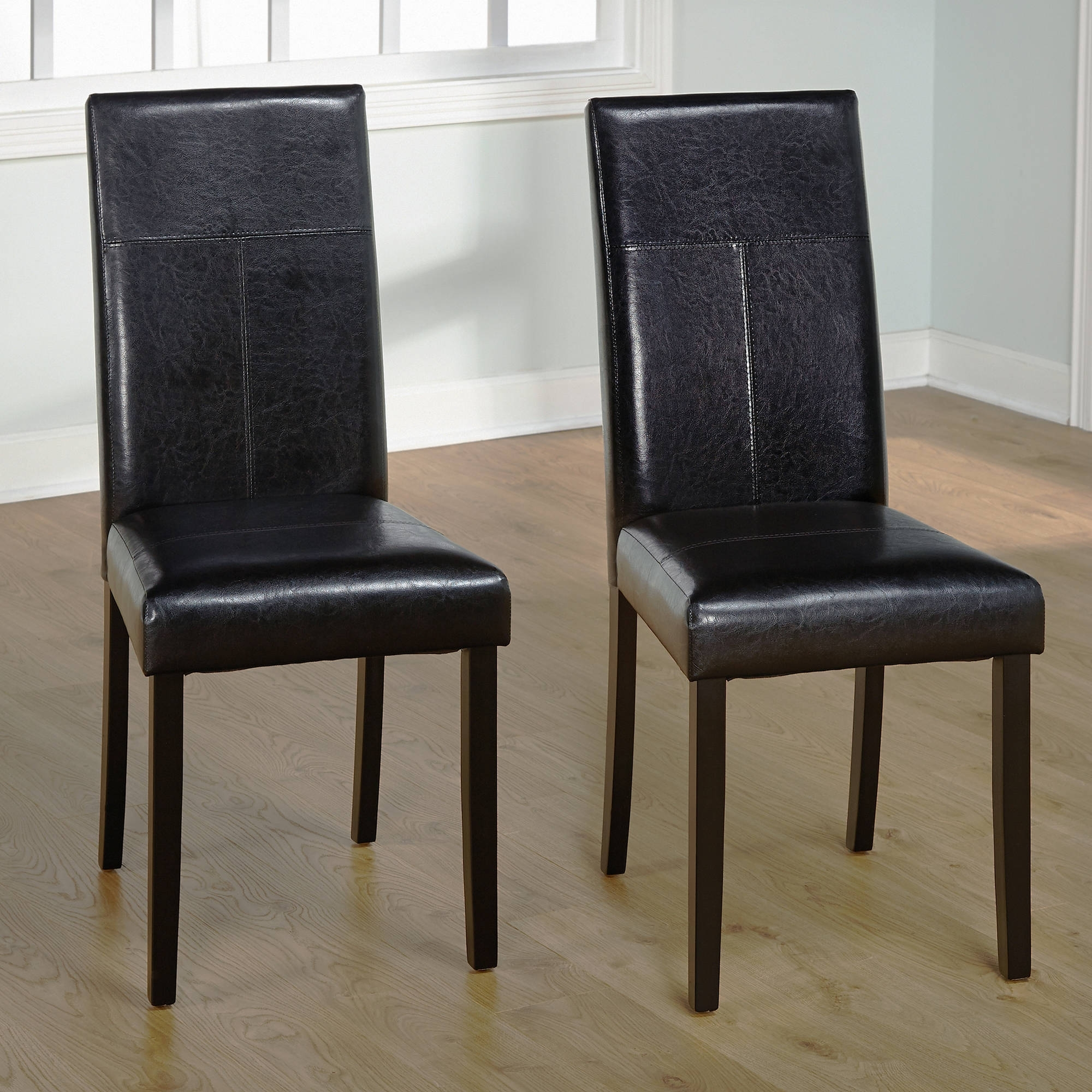 Faux Leather Parson Dining Chair, Set Of 2 – Walmart Throughout 2018 Real Leather Dining Chairs (View 4 of 25)