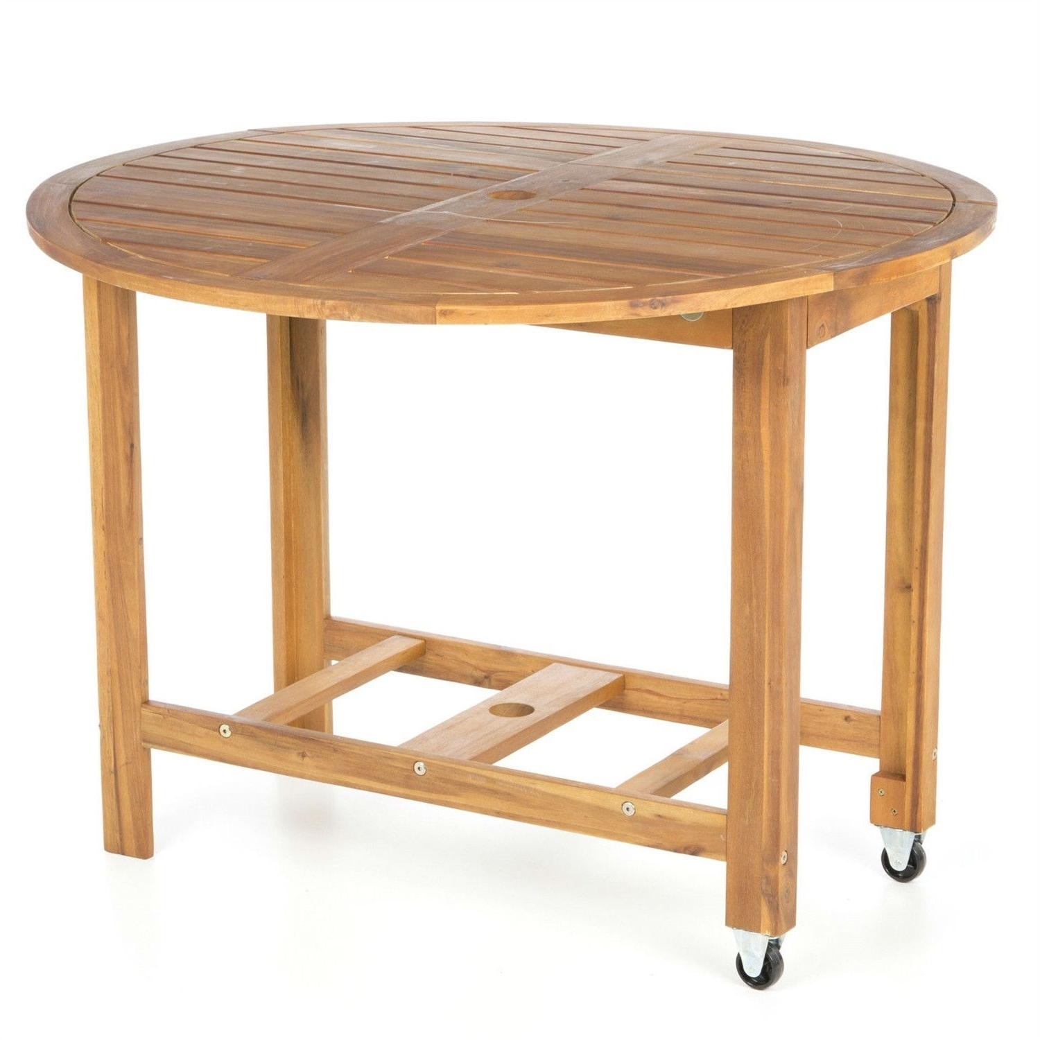 Favorite 39 Inch Round Wood Folding Outdoor Patio Dining Table With Wheels Throughout Folding Outdoor Dining Tables (View 25 of 25)