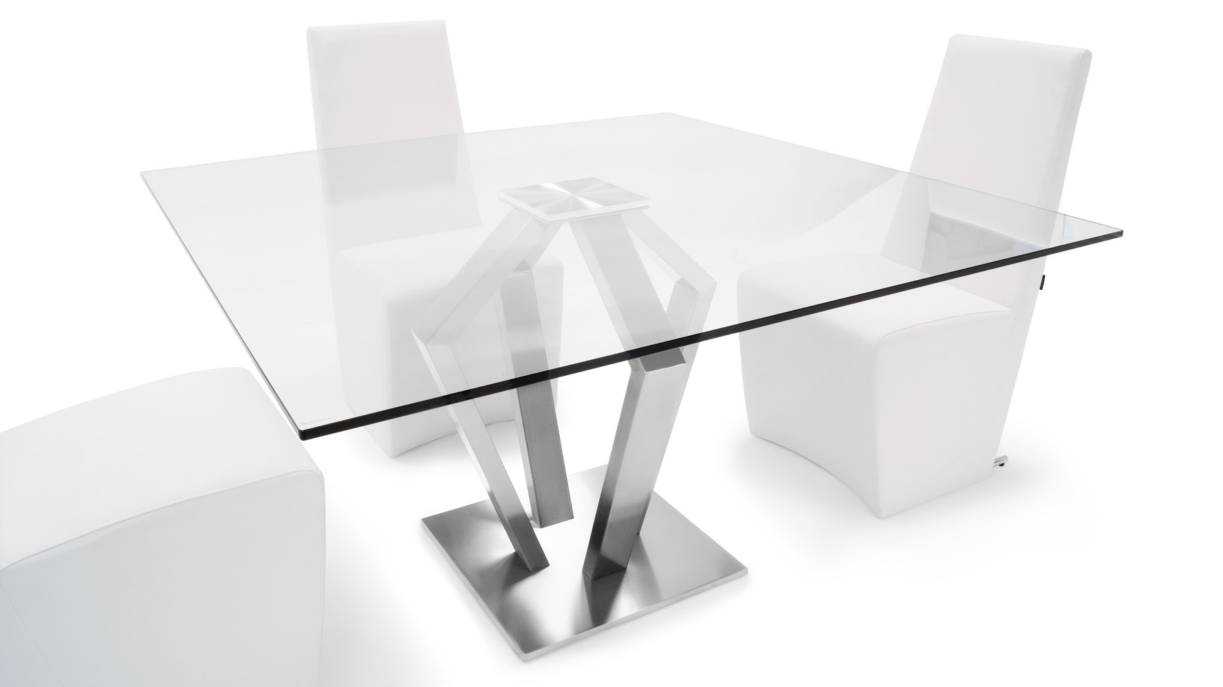 "Favorite Aiden Metal And Glass 51"" Square Modern Dining Table (View 11 of 25)"