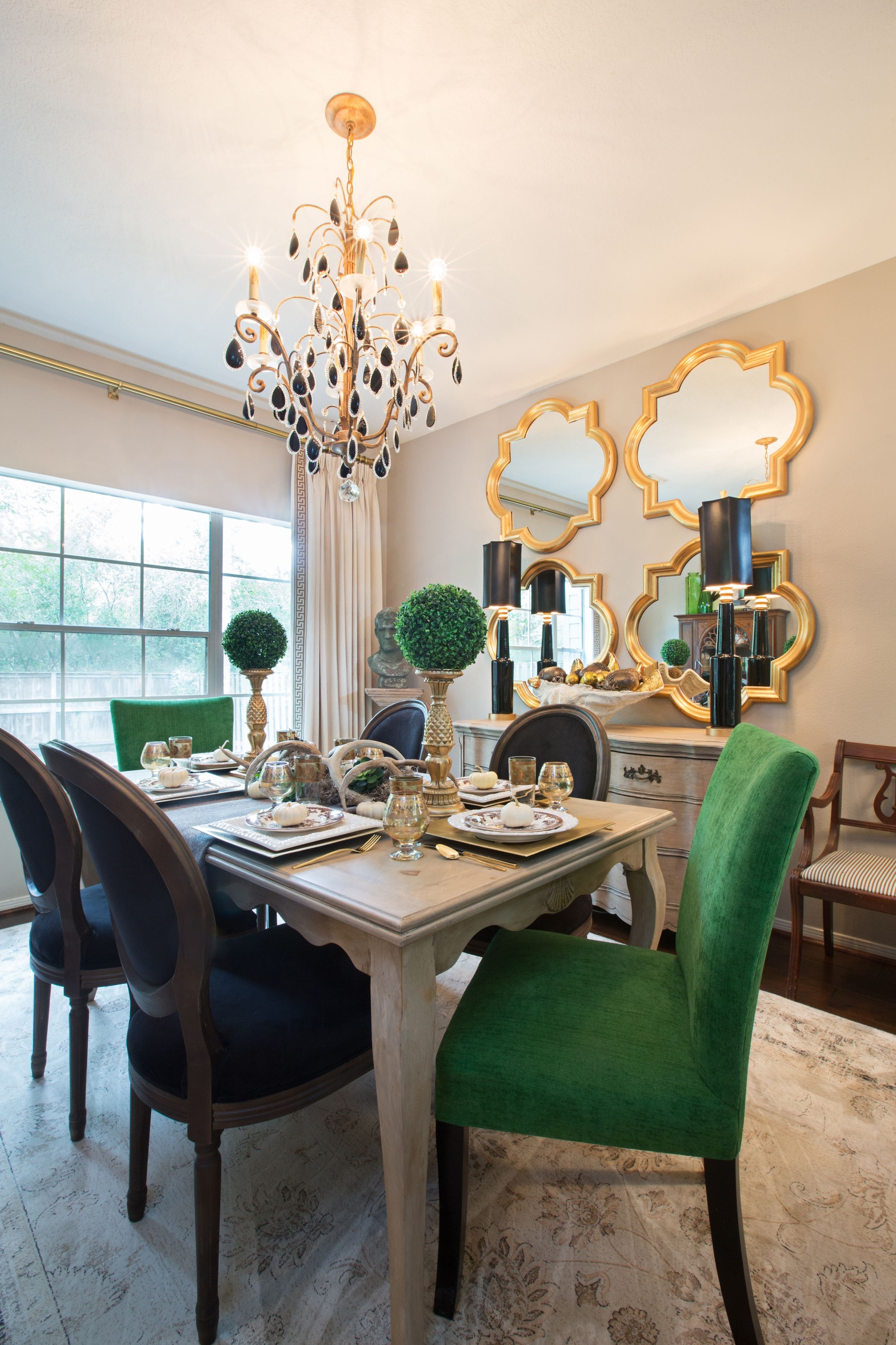 Favorite Amanda Carol Interiors Emerald Green, Gold Mirrors, Weathered Wood Pertaining To Green Dining Tables (View 5 of 25)