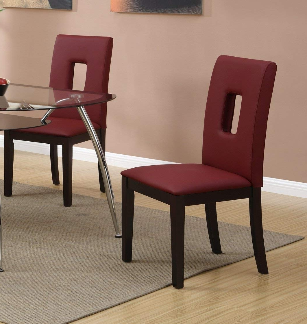 Favorite Amazon – Parson Dining Chairs Set Of 2 Red Leatherpoundex Pertaining To Red Leather Dining Chairs (View 17 of 25)