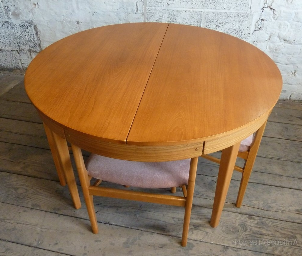 Favorite Antiques Atlas – Round Extending Teak Dining Table & 4 Chairs Inside Retro Extending Dining Tables (View 5 of 25)