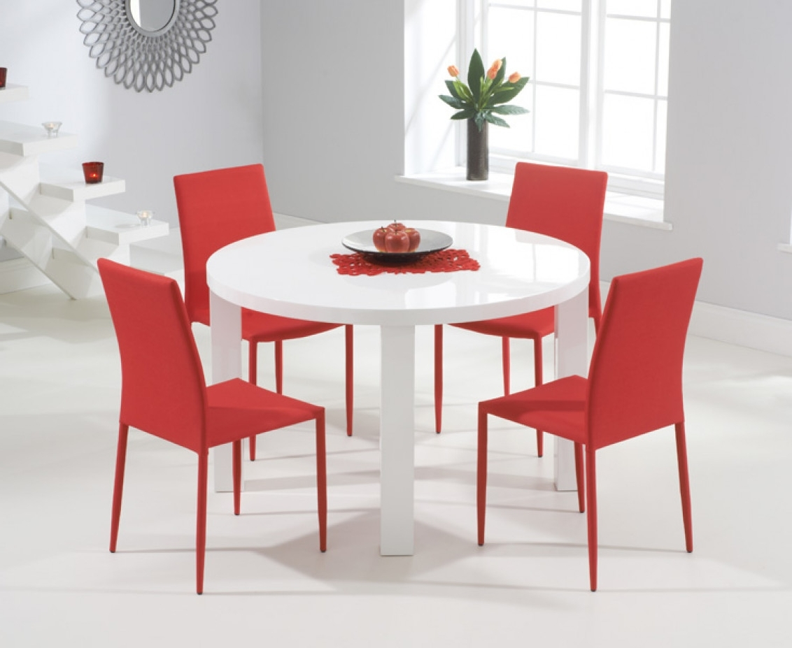 Favorite Atlanta 120Cm Round White High Gloss Dining Table With Atlanta Regarding Red Gloss Dining Tables (View 5 of 25)
