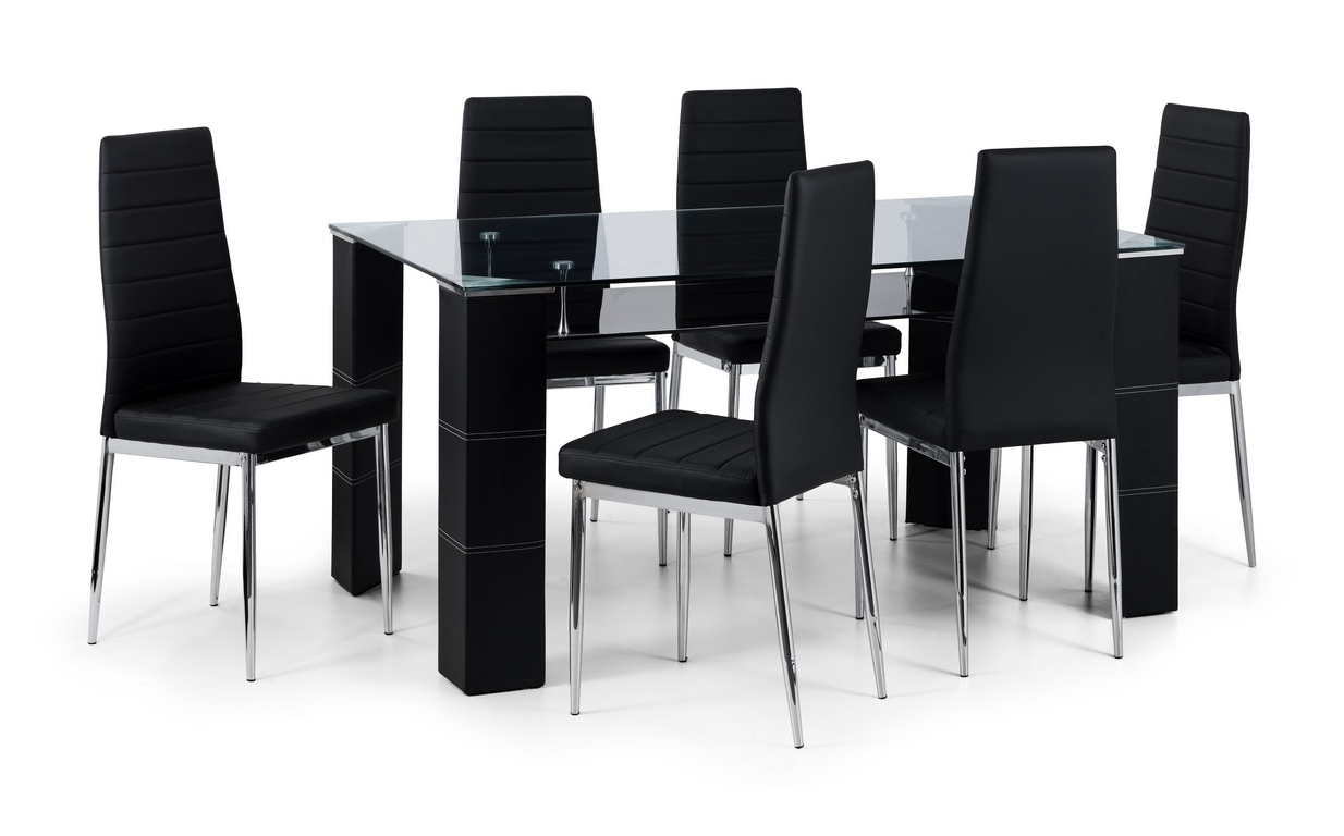 Favorite Black Glass Dining Tables With 6 Chairs With Regard To Auckland Glass Dining Table + 6 Chairs – Thanet Beds (View 12 of 25)