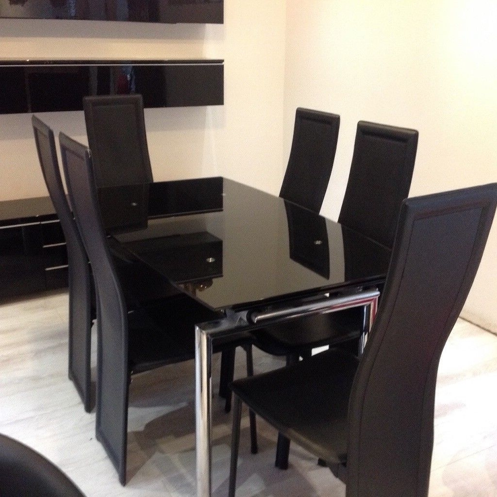 Favorite Black Glass Extendable Dining Table With Chrome Legs And 6 Black Within Glass Extendable Dining Tables And 6 Chairs (View 5 of 25)