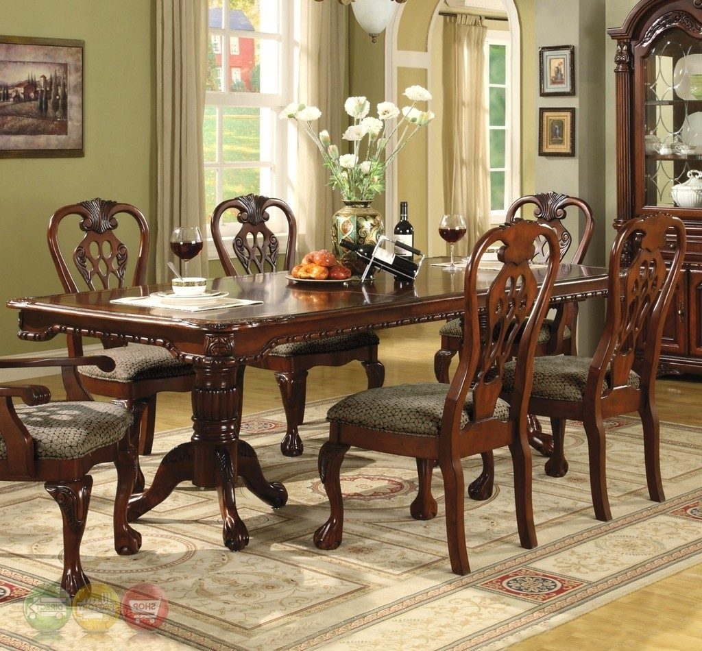 Favorite Black Wood Dining Tables Sets Throughout Brussels Formal Dining Room 7 Piece Furniture Set Traditional Dark (View 12 of 25)