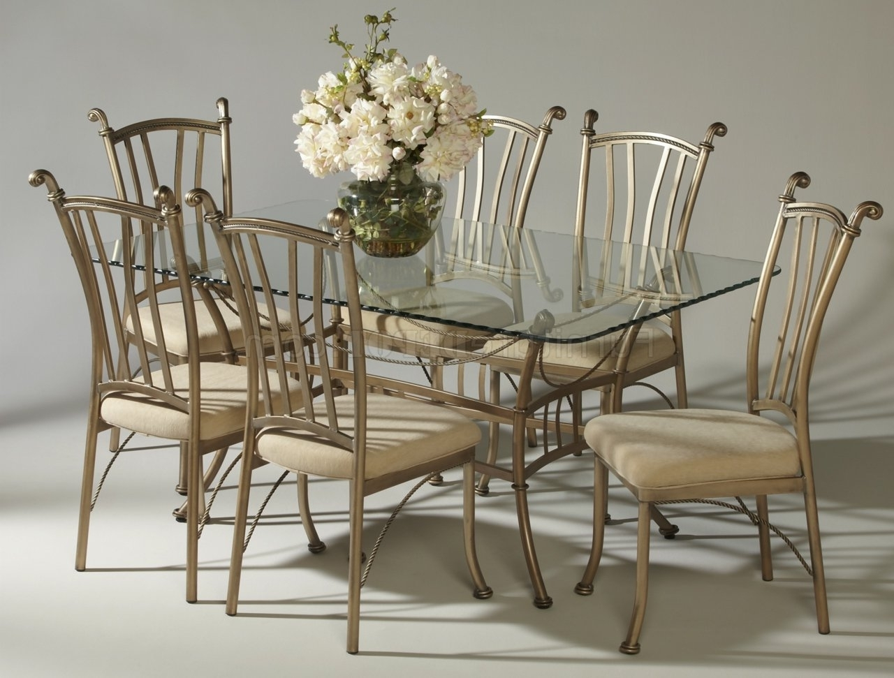 Favorite Bronze Painted Steel Frame Glass Top Classic 7Pc Dinette Set With Ivory Painted Dining Tables (View 4 of 25)