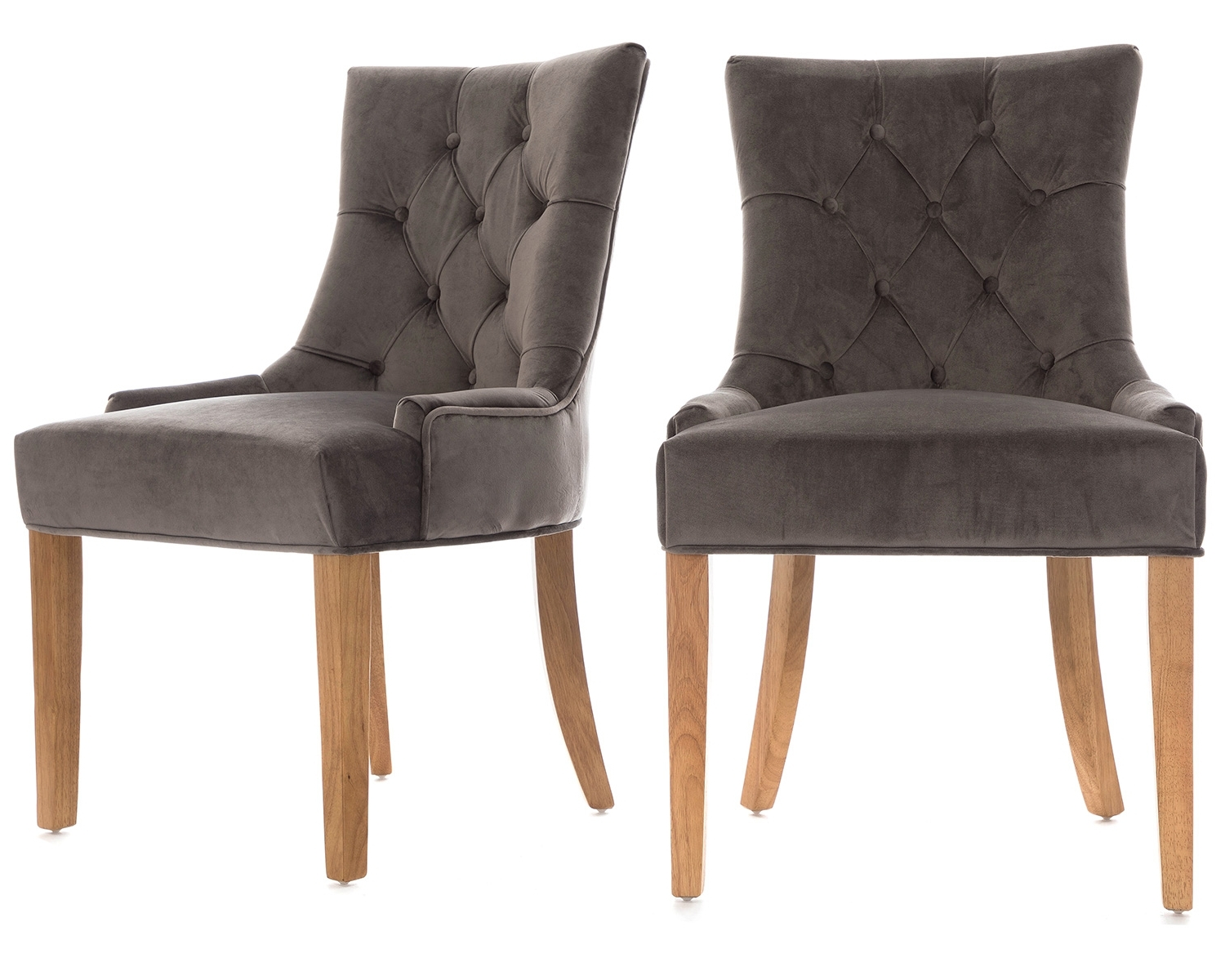 Favorite Button Back Dining Chairs Pertaining To Scoop Button Back Dining Chairs Grey Velvet & Oak Legs  (View 11 of 25)