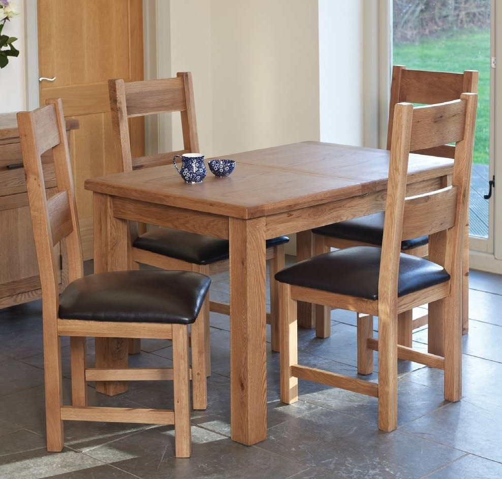 Favorite Buy Hampshire Oak Rectangular Extending Dining Set With 4 Padded Within Extending Rectangular Dining Tables (View 17 of 25)