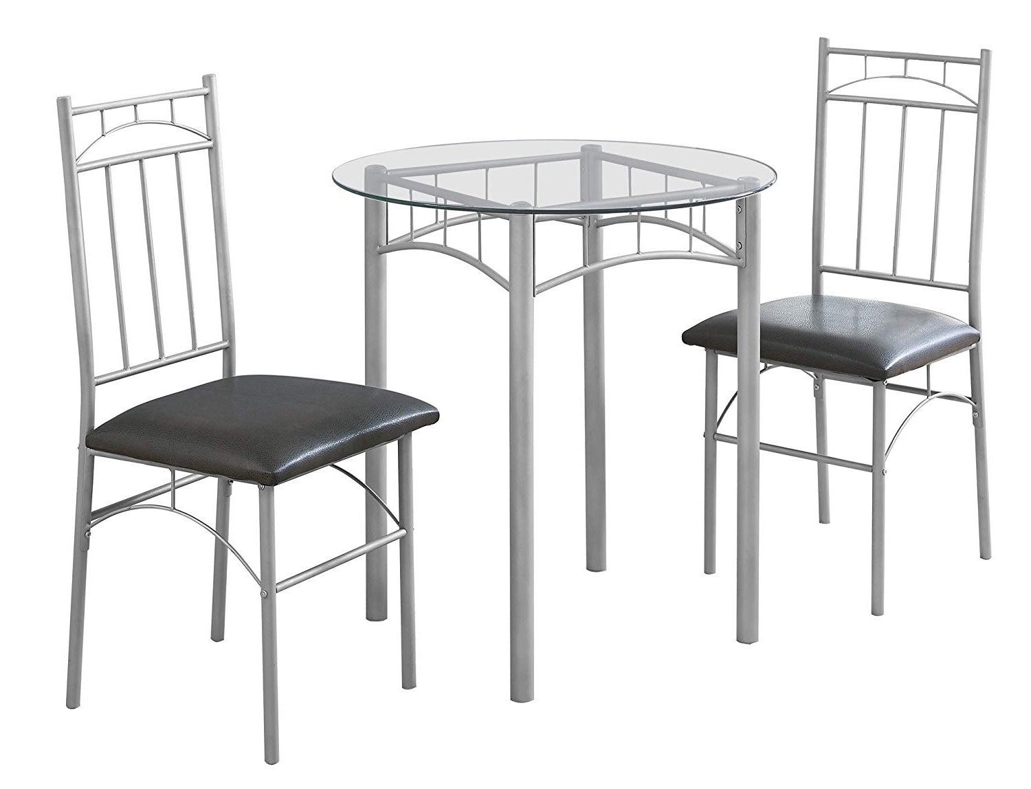 Favorite Candice Ii 5 Piece Round Dining Sets With Slat Back Side Chairs Pertaining To Amazon: Candace & Basil Dining Set – 3Pc Set/silver Metal (View 18 of 25)