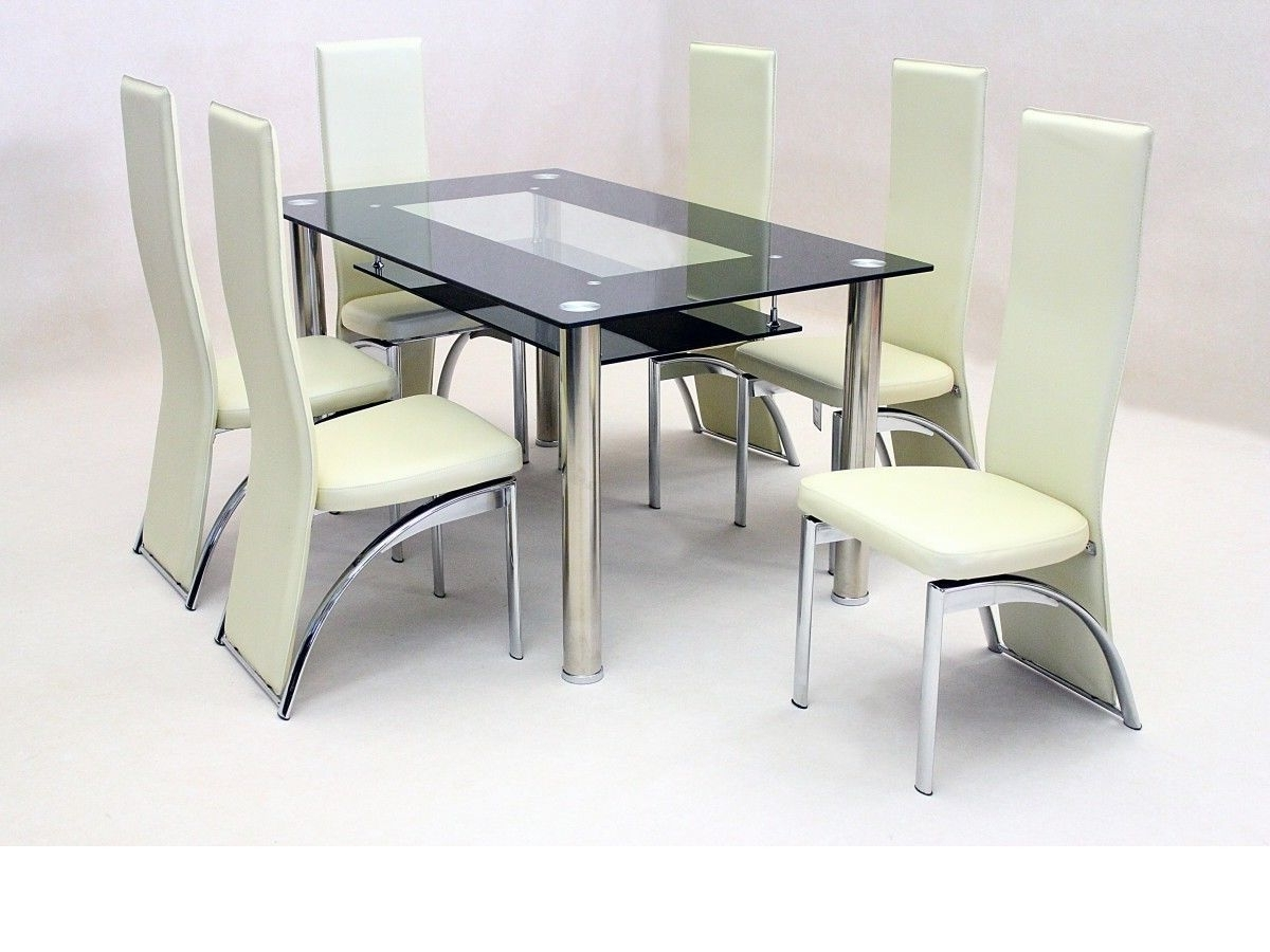 Favorite Cheap Glass Dining Tables And 6 Chairs Regarding Black Glass Dining Table And 6 Faux Chairs In Cream – Homegenies (View 14 of 25)