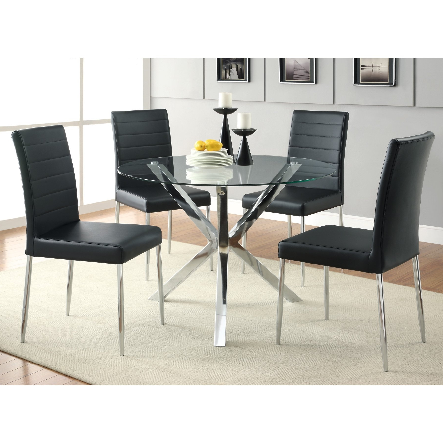 Favorite Chrome Dining Tables And Chairs Inside Shop Coaster Company Chrome Glass Top Dining Table – Free Shipping (View 7 of 25)