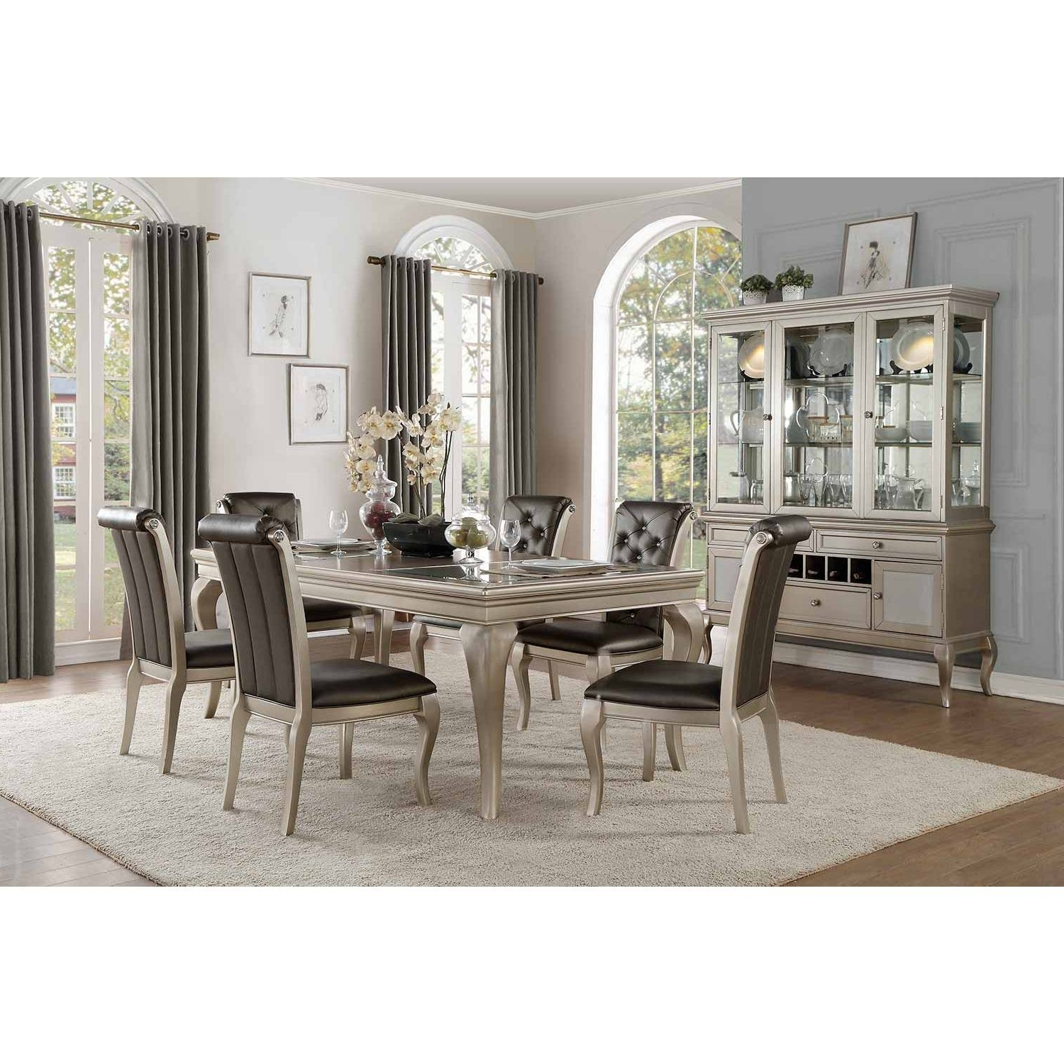 Favorite Crawford 7 Piece Rectangle Dining Sets Pertaining To Crawford Group 7 Pc Dining Set Silver (View 14 of 25)