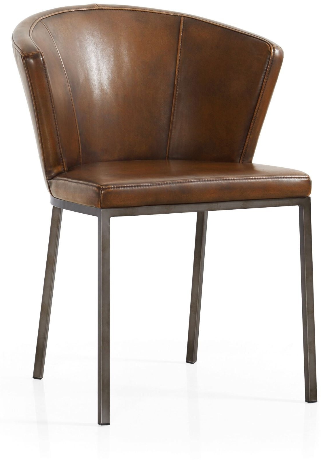 Featured Photo of Dark Brown Leather Dining Chairs