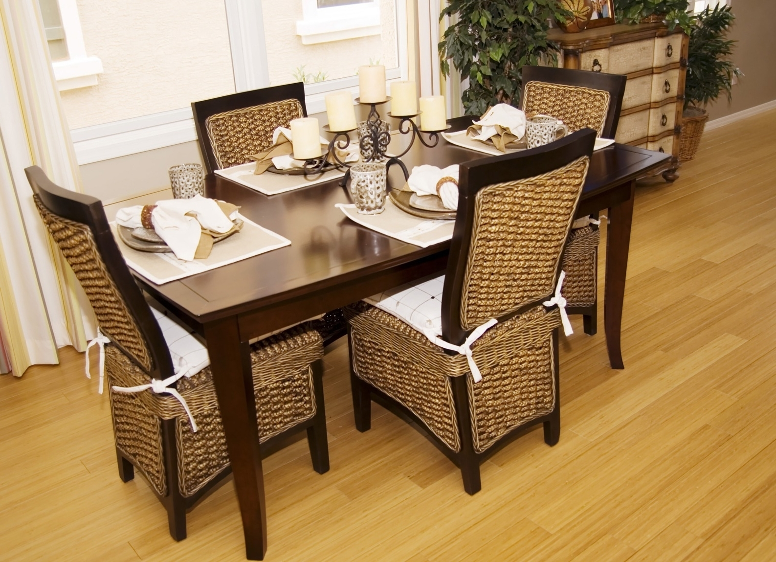 Favorite Dining Room With Farmhouse Table And Wicker Chairs Rustic With With Rattan Dining Tables And Chairs (View 10 of 25)