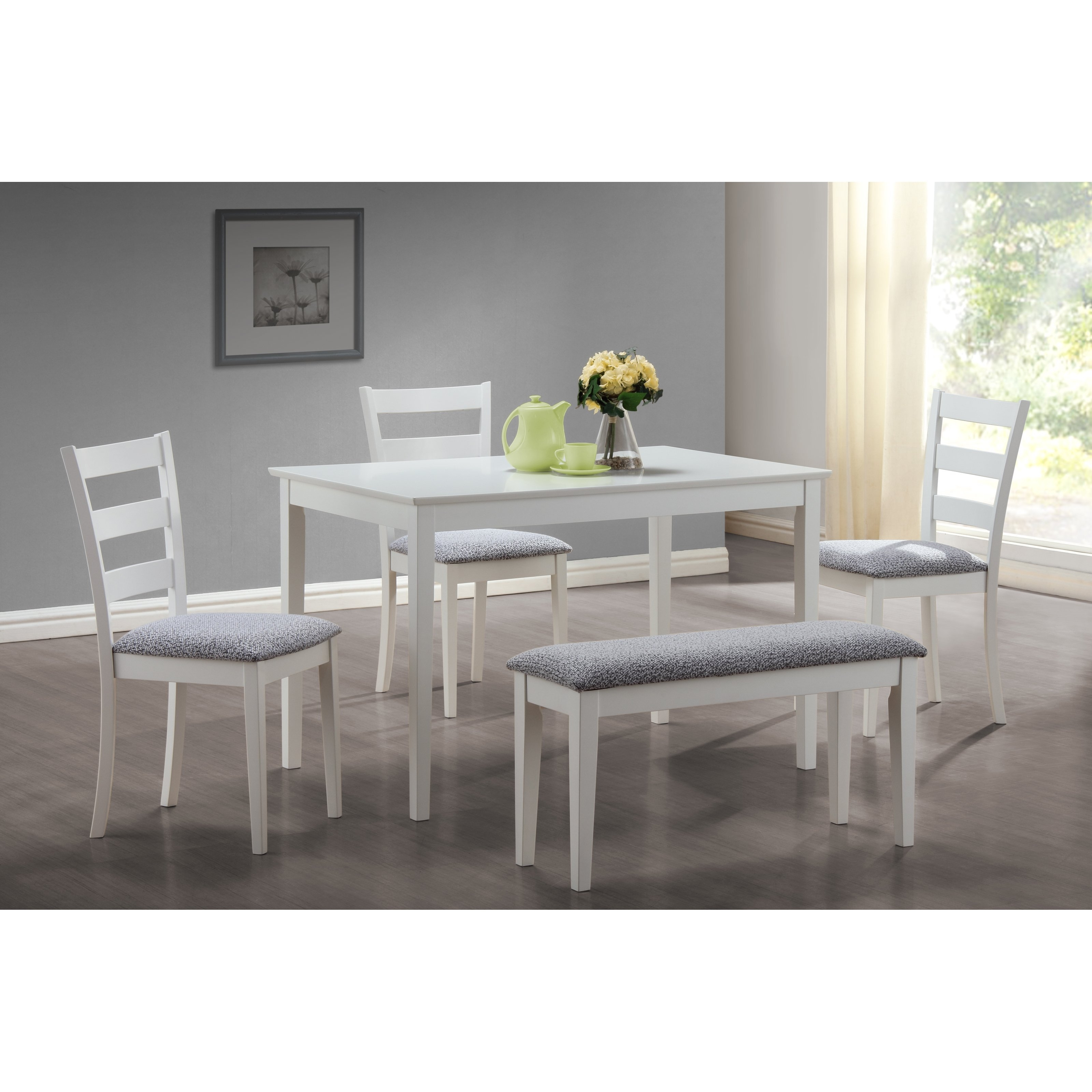 Favorite Dining Tables And 2 Benches Pertaining To Monarch Specialties Bluffton 5 Piece Rectangular Dining Table Set (View 12 of 25)