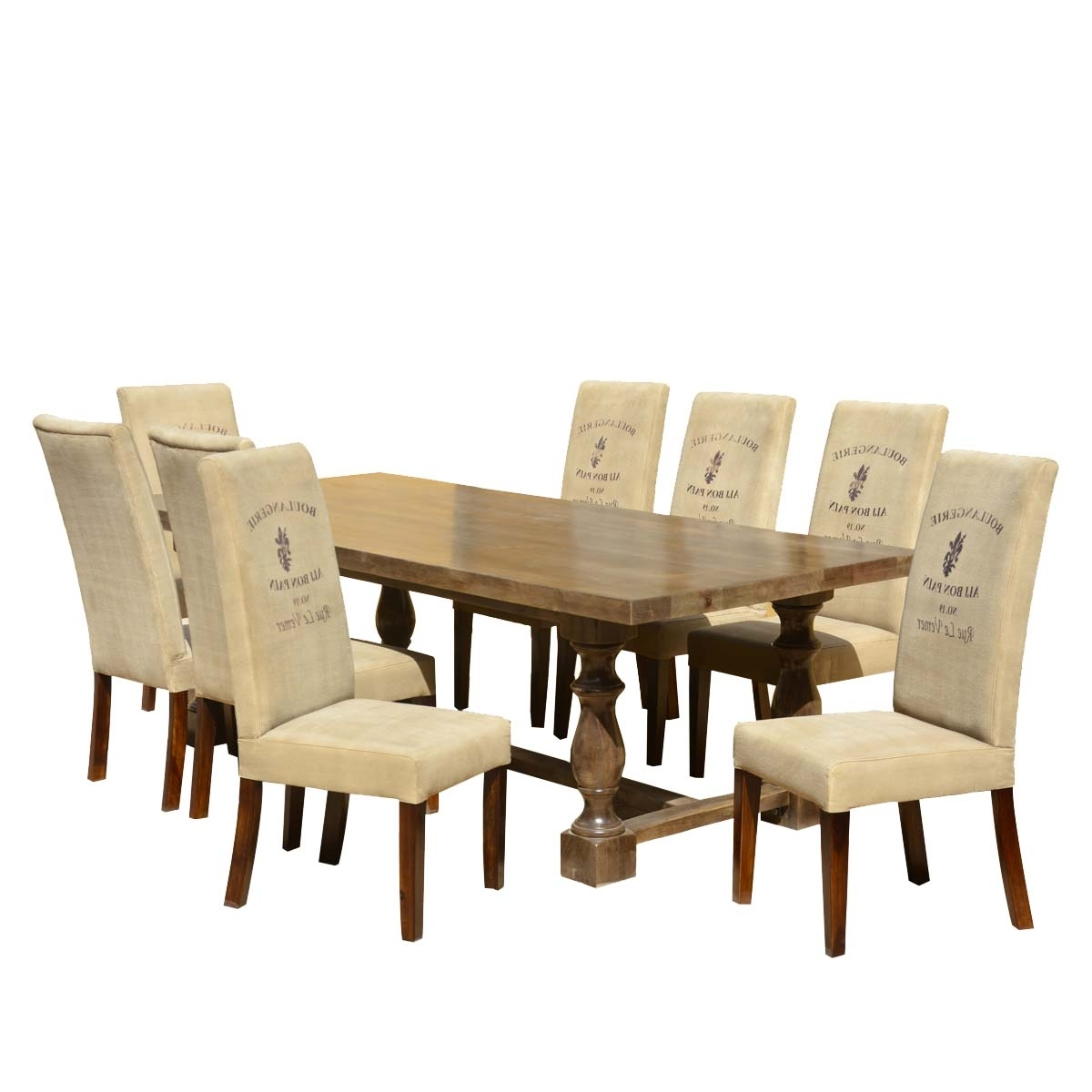 Favorite Dining Tables And Fabric Chairs Intended For Cafe Logo Mango Dining Table Set With Fabric Upholstered Chairs (View 12 of 25)
