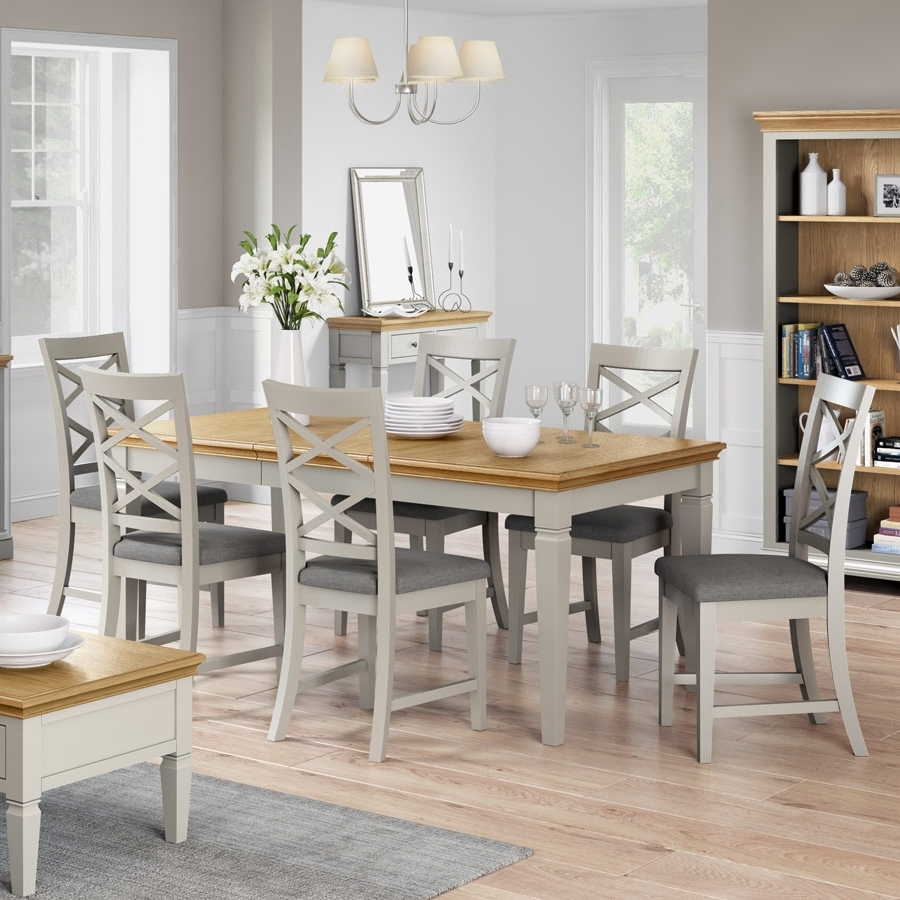 Favorite Dorchester Dove 4Ft 11 Grey Extending Dining Table Set With 6 X Intended For Extending Dining Room Tables And Chairs (View 8 of 25)