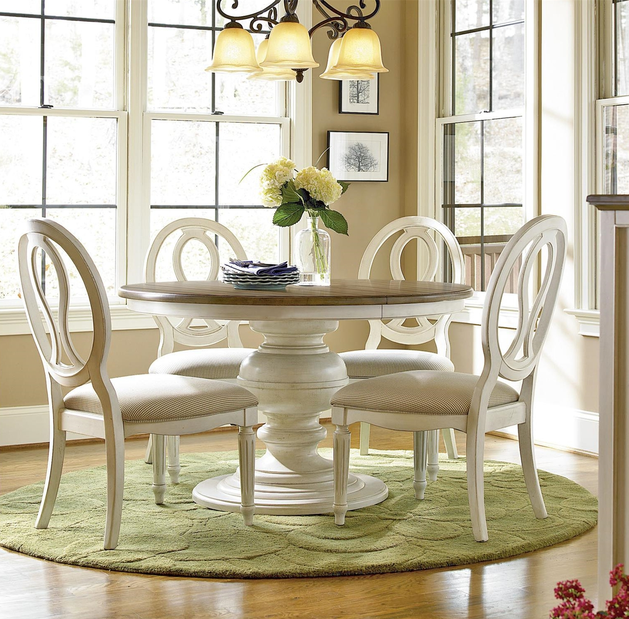 Favorite Extendable Round Dining Tables Sets Within Country Chic 5 Piece Round White Dining Table Set In  (View 13 of 25)