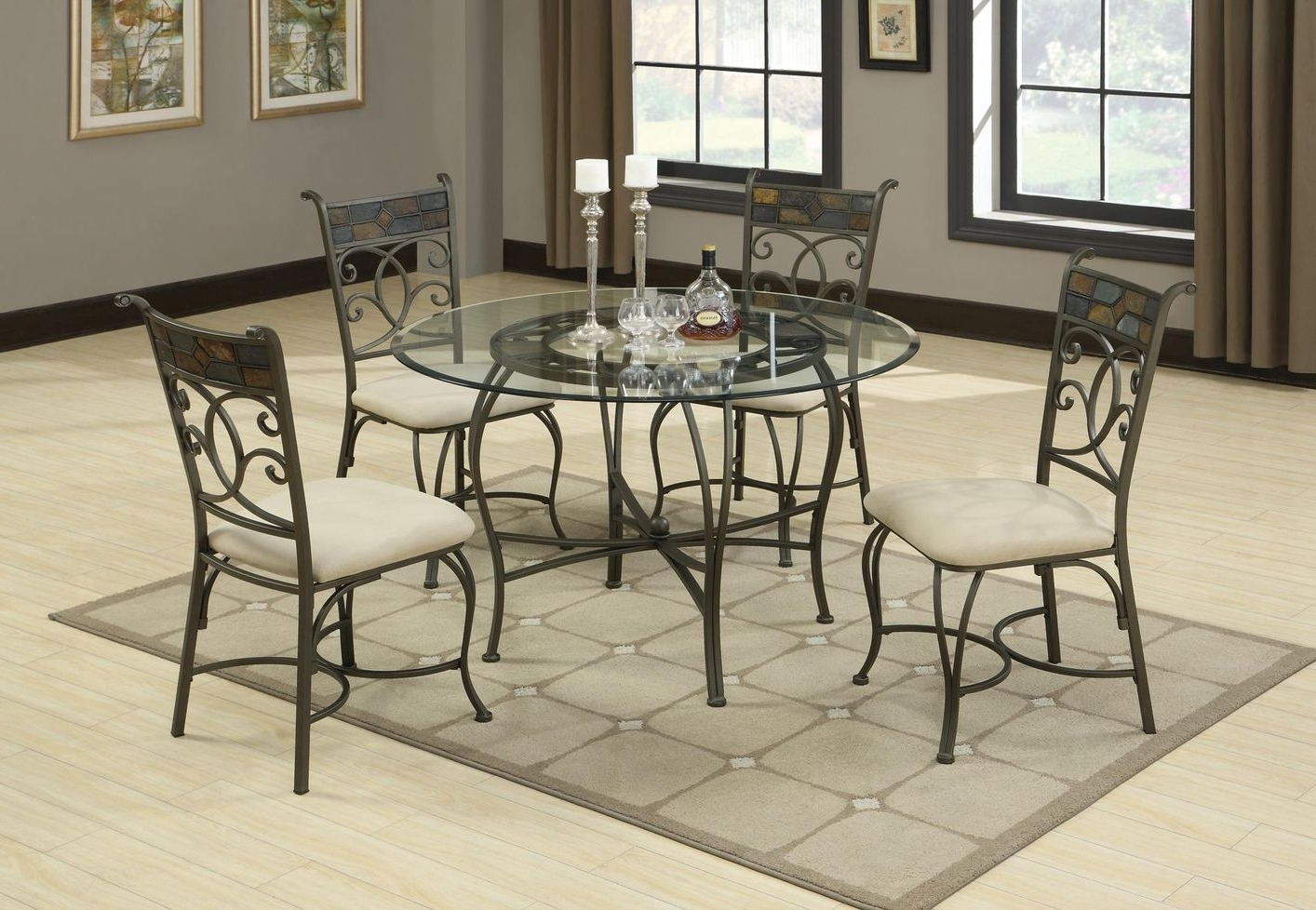 Favorite Glass Dining Tables And Chairs Regarding Sheridan Grey Metal And Glass Dining Table – Steal A Sofa Furniture (View 11 of 25)