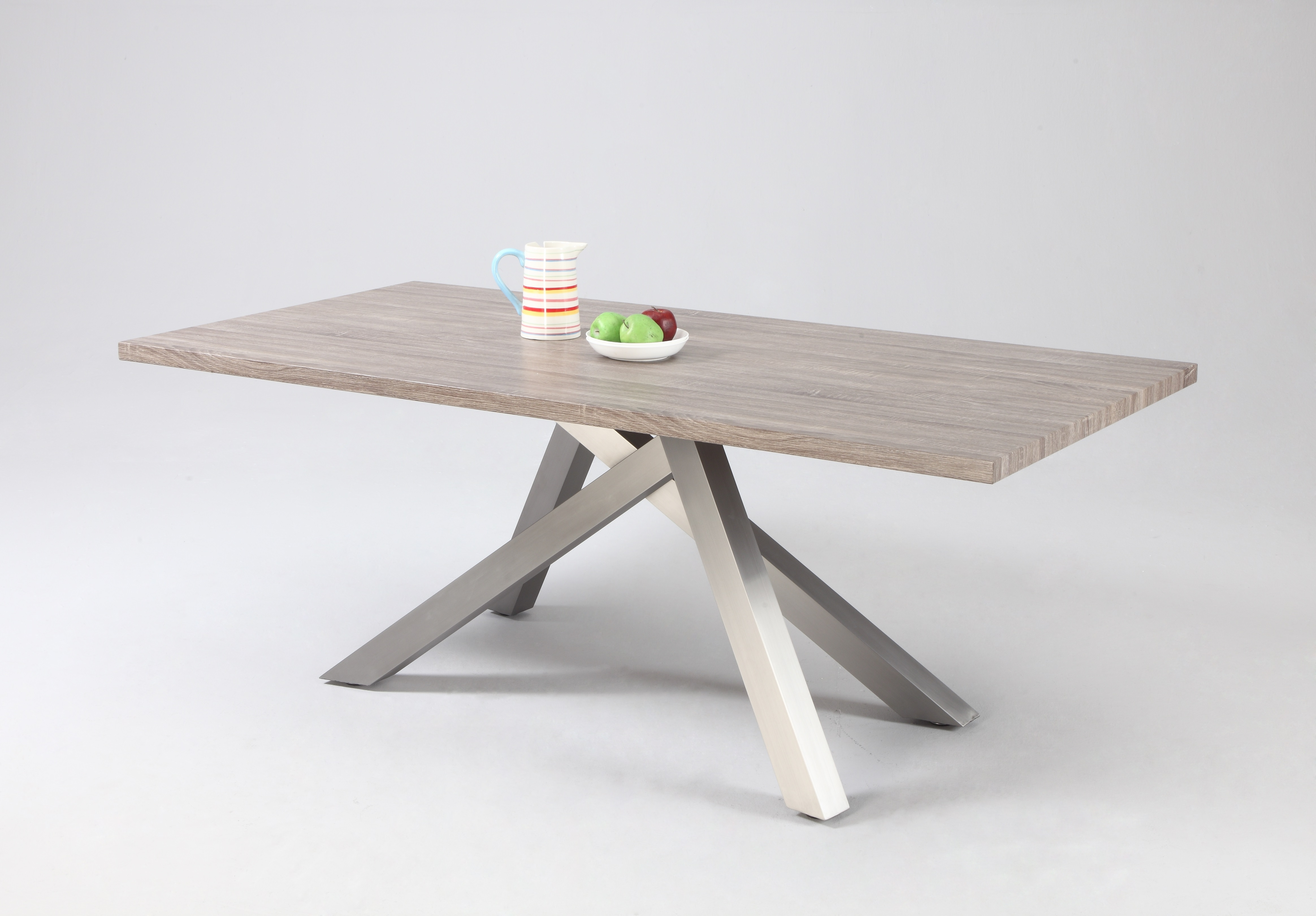 Favorite Glass Dining Tables With Oak Legs Intended For Dark Oak Dining Table With Stainless Steel Legs Riverside California (View 11 of 25)