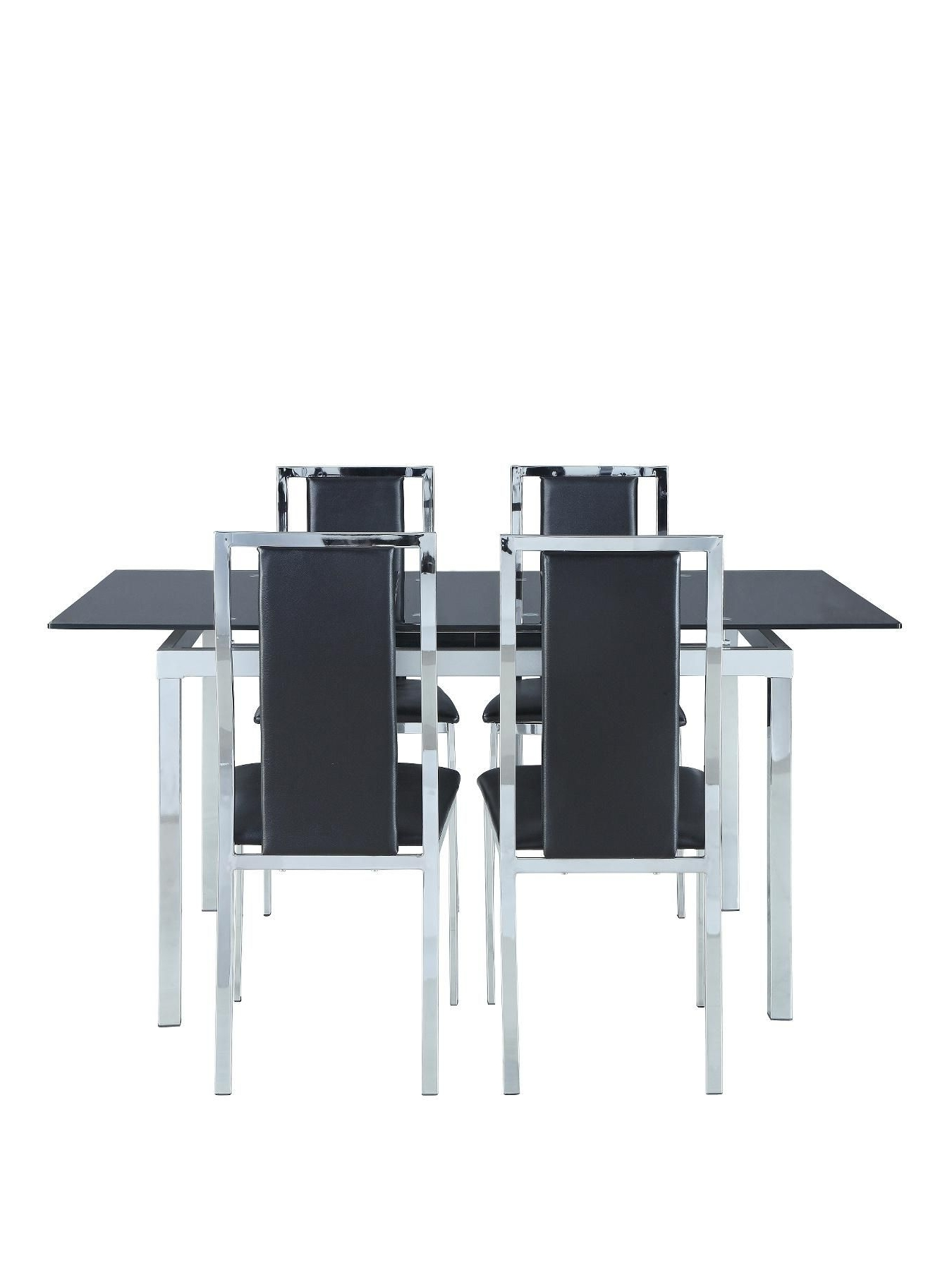 Favorite Glide Glass And Chrome 120 150 Cm Extending Dining Table + 4 With Regard To Extending Black Dining Tables (View 25 of 25)