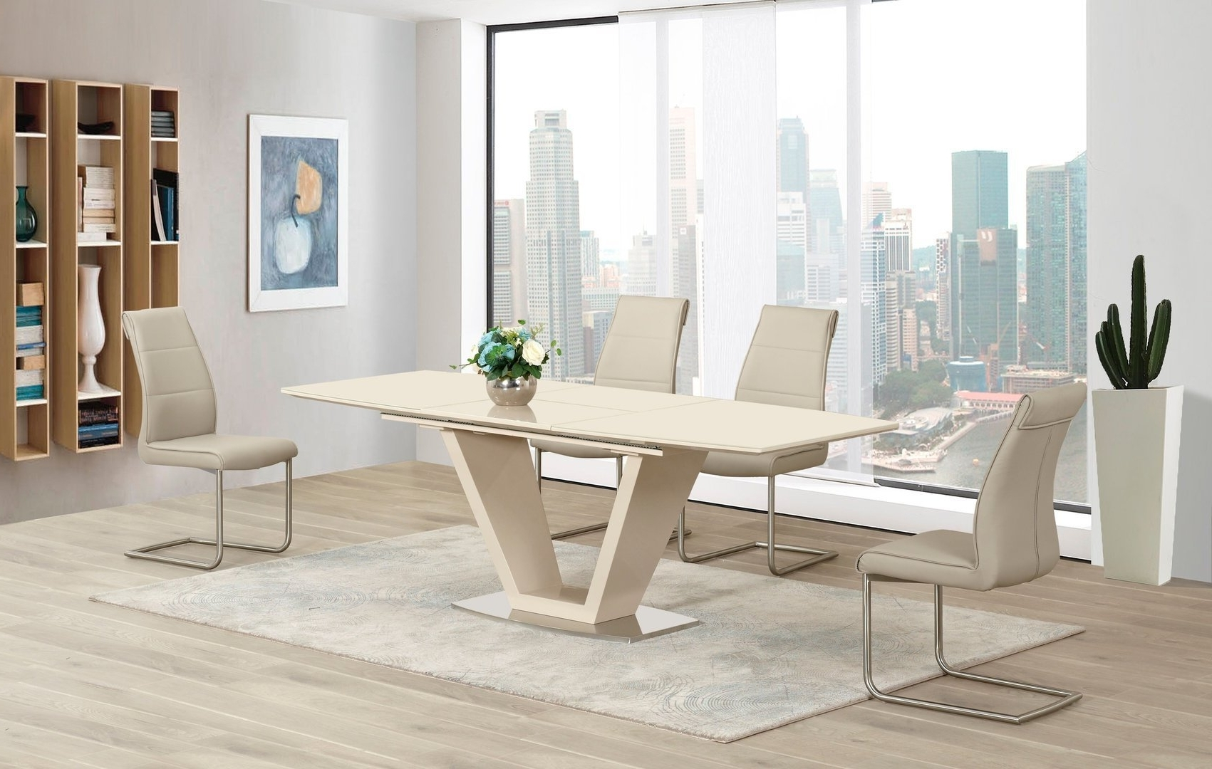 Favorite Gloss Dining Tables And Chairs Regarding Cream Extending Glass High Gloss Dining Table And 4 Taupe Chairs Set (View 4 of 25)
