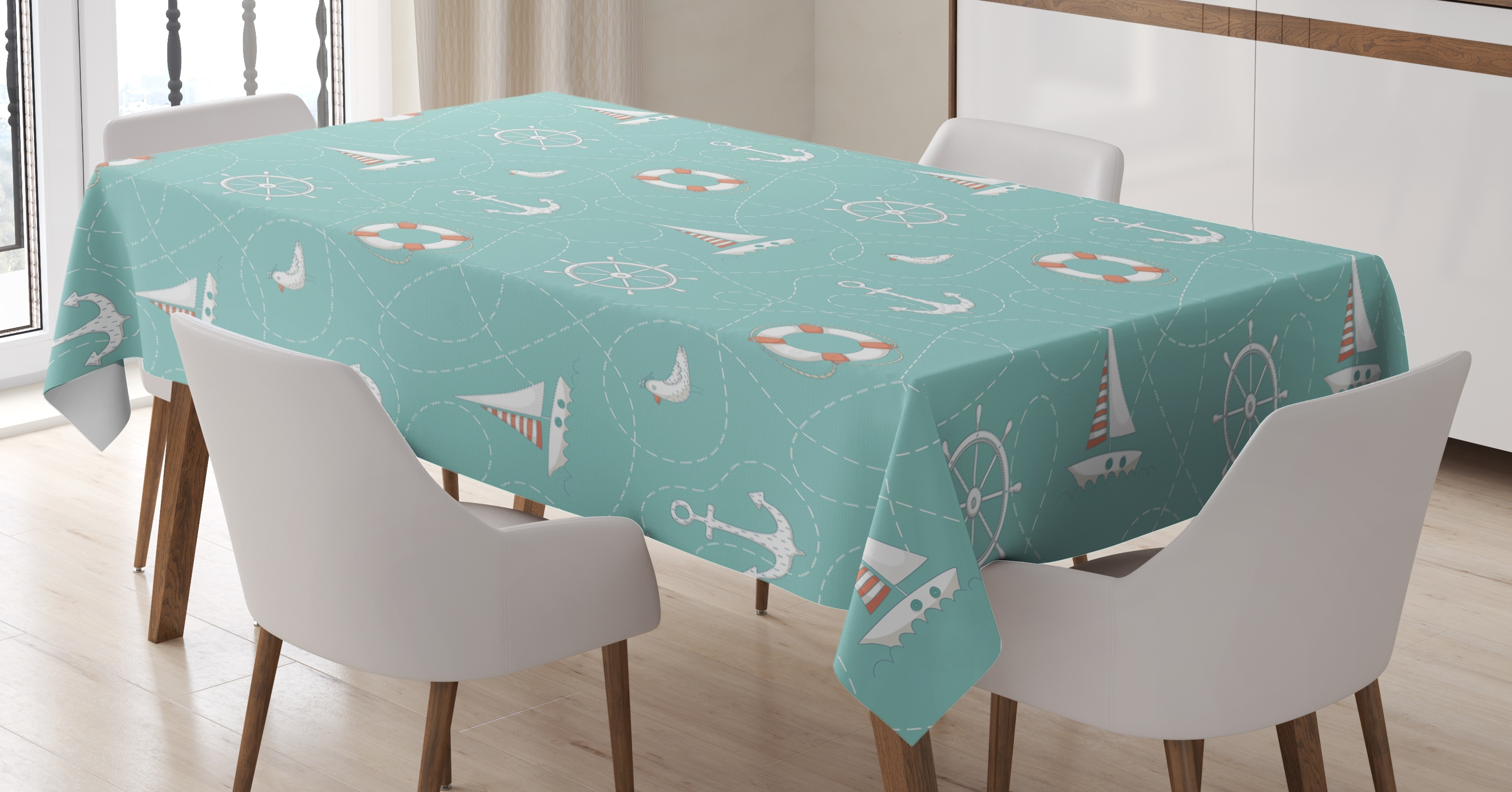 Favorite Helms Rectangle Dining Tables Pertaining To Anchor Tablecloth, Nautical Arrangement With Seagull Helm And (View 9 of 25)
