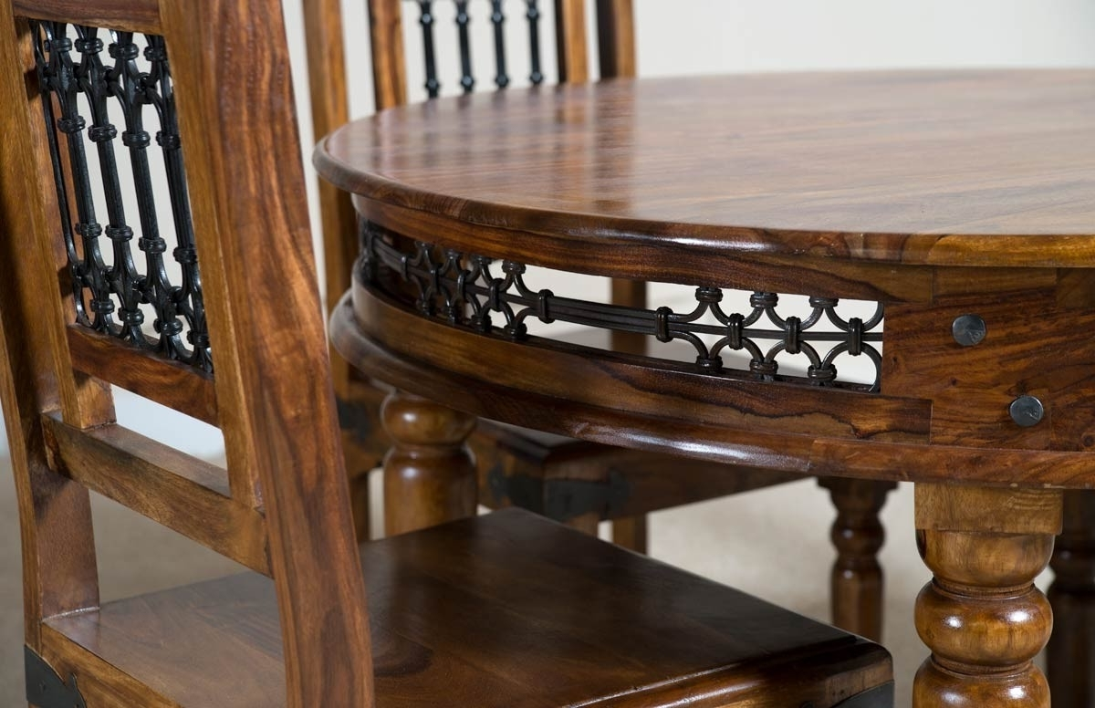 Favorite Jali Sheesham Round 110Cm Dining Table (View 6 of 25)