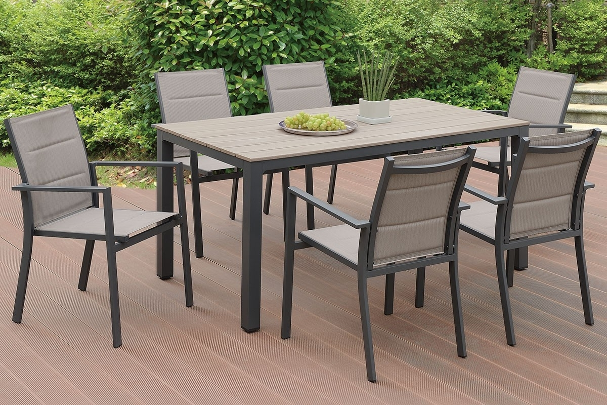 Favorite Jaxon 7 Piece Rectangle Dining Sets With Wood Chairs Regarding Jaxon Outdoor 7 Piece Dining Table Set (View 7 of 25)