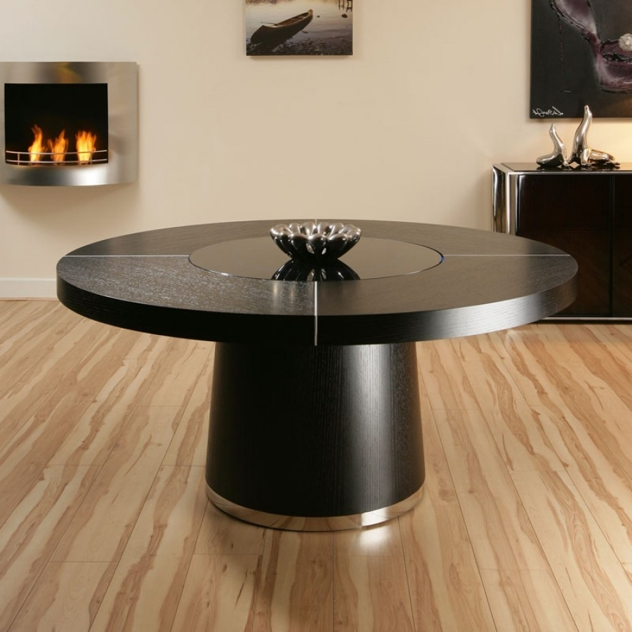 Favorite Large Round Black Oak Dining Table, Glass Lazy Susan, Led Lights  (View 5 of 25)
