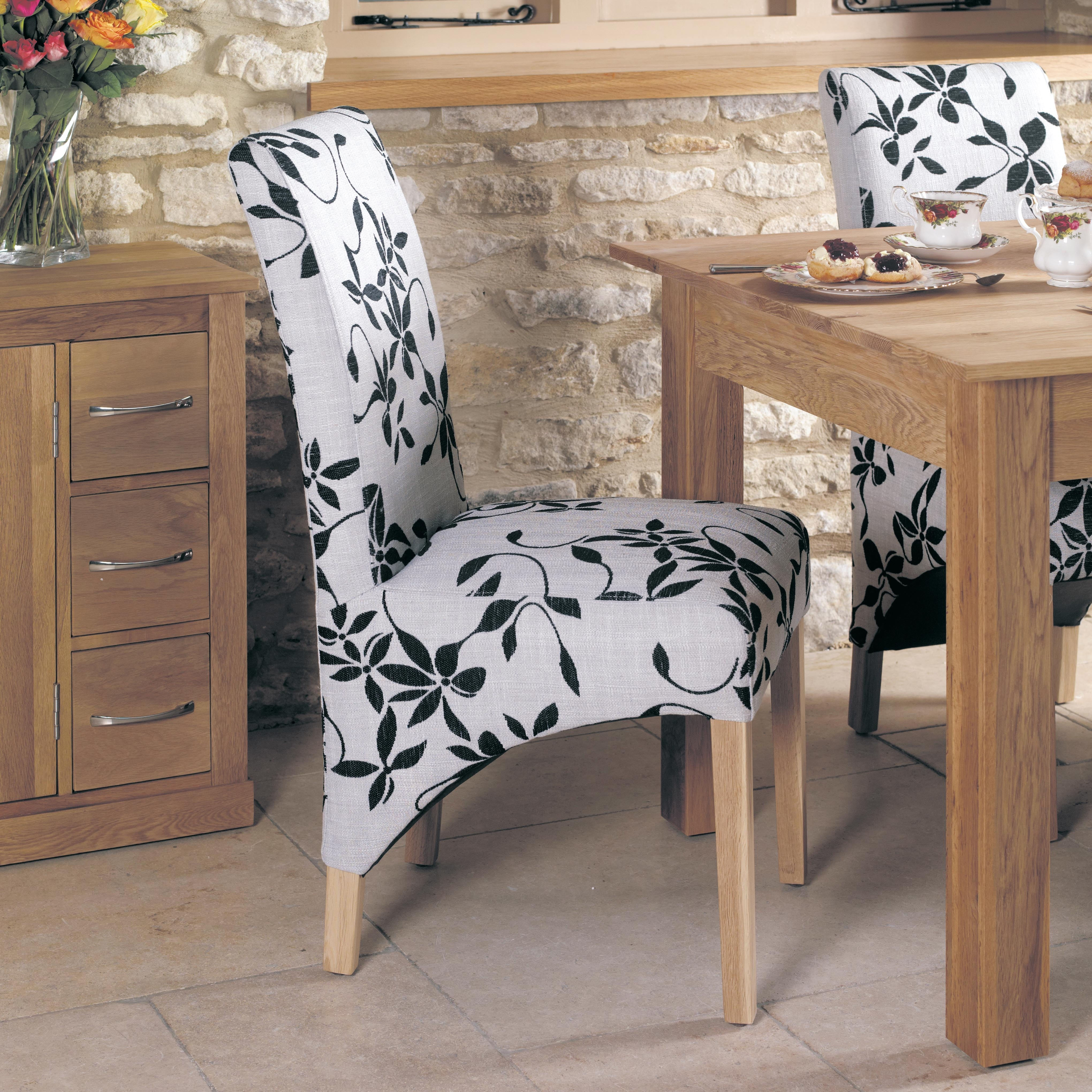 Favorite Mobel Oak 2 Upholstered Dining Chairs (Cor03B) For Oak Fabric Dining Chairs (View 7 of 25)
