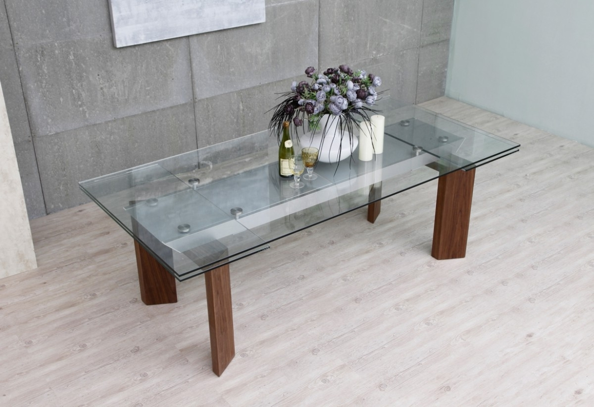 Favorite Modrest Bijou Contemporary Extendable Walnut & Glass Dining Table Inside Extendable Glass Dining Tables (View 16 of 25)