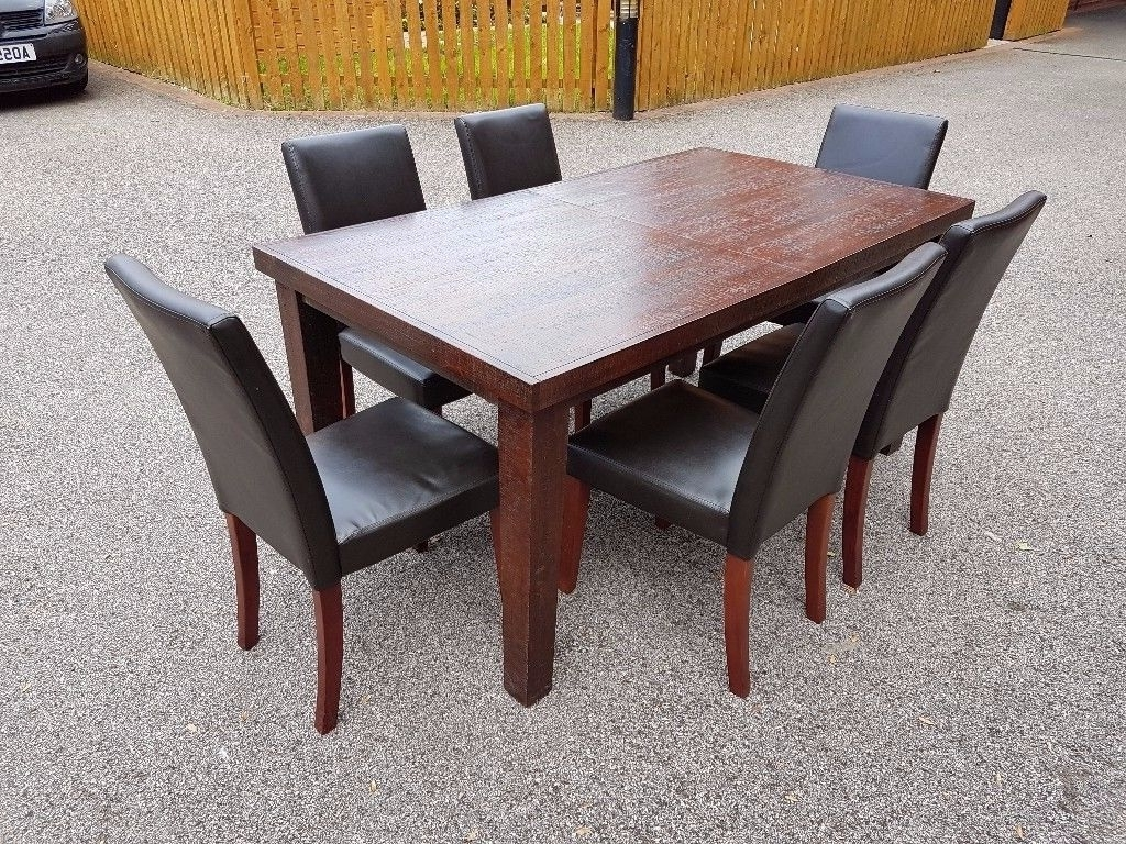 Favorite Next Solid Darkwood Extending Dining Table 205Cm & 6 Brown Leather Pertaining To Dark Wood Extending Dining Tables (View 15 of 25)