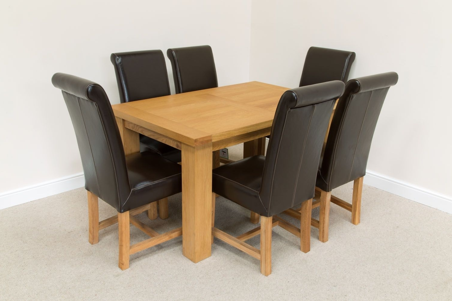 Favorite Oak Dining Tables And Leather Chairs With Regard To  (View 5 of 25)