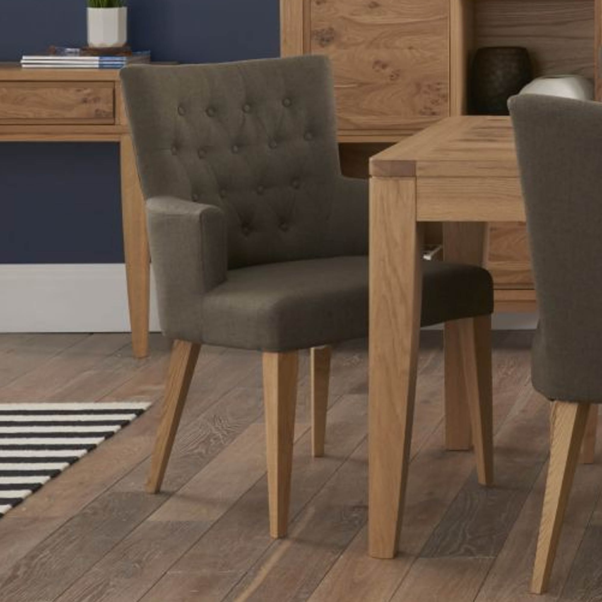 Favorite Oak Fabric Dining Chairs Throughout Pippy Oak Upholstered Dining Armchair In Fabric – Dining Chairs (View 18 of 25)