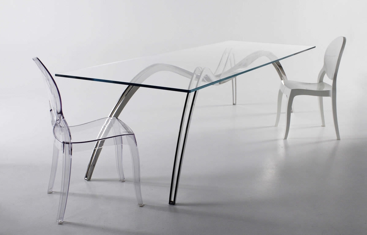 Favorite Original Design Dining Table / Glass / Stainless Steel / Rectangular With Regard To Glass And Stainless Steel Dining Tables (View 11 of 25)