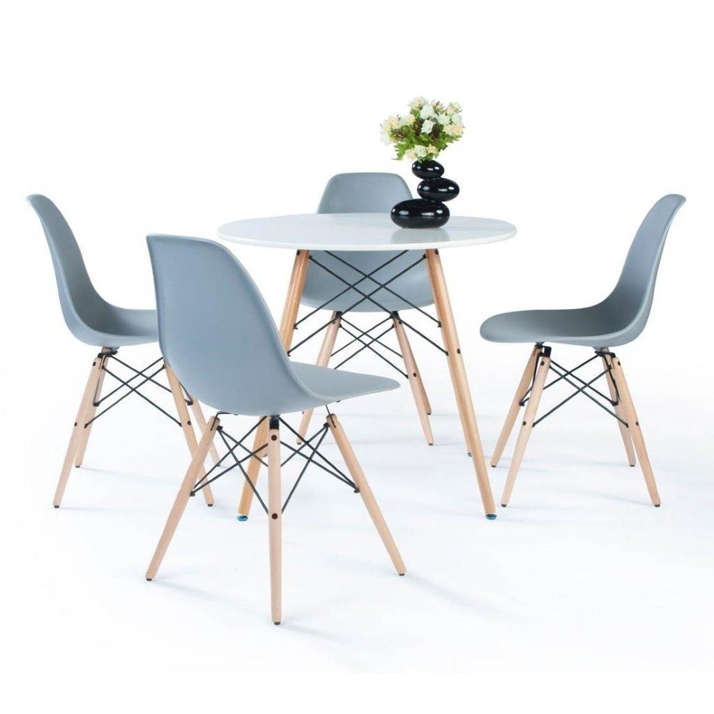 Favorite Paris Dining Tables Pertaining To Paris 80 Cm Round Dining Table + 4 Chairs In White, White/grey (View 8 of 25)