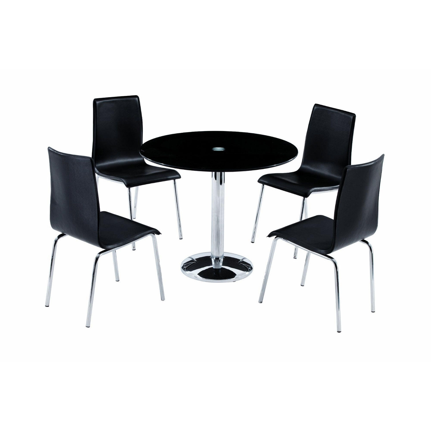 Favorite Round Black Glass Dining Tables And 4 Chairs Inside Round Black Dining Table And Chairs Red Wooden Dining Chairs (View 9 of 25)