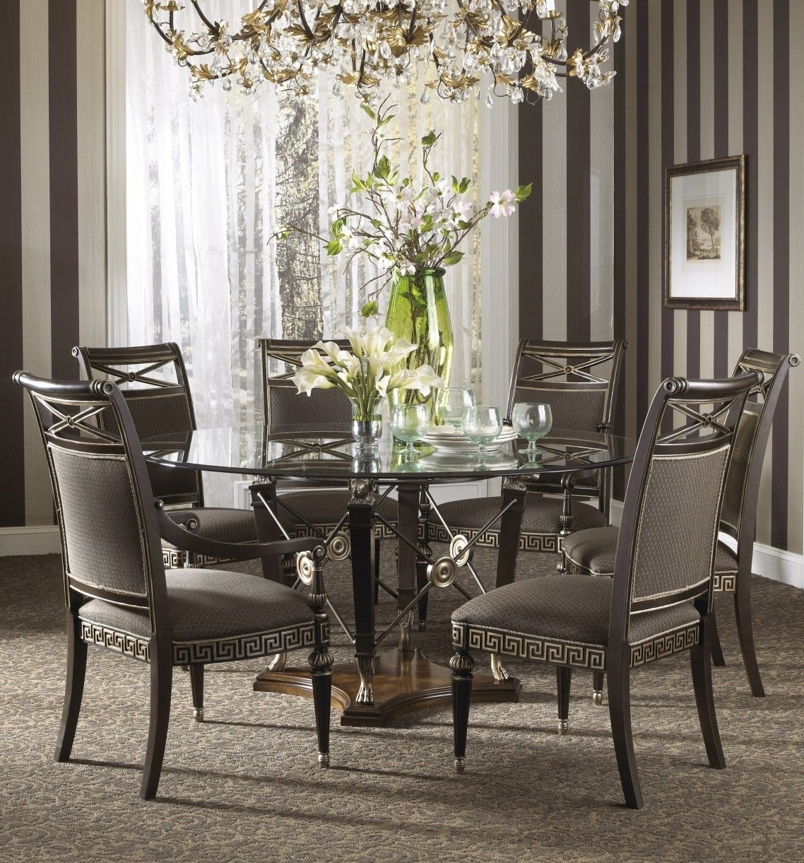 Favorite Round Black Glass Dining Tables And Chairs For Awesome Luxury Gray Wrought Iron Dining Table Base Mixed Round Glass (View 21 of 25)