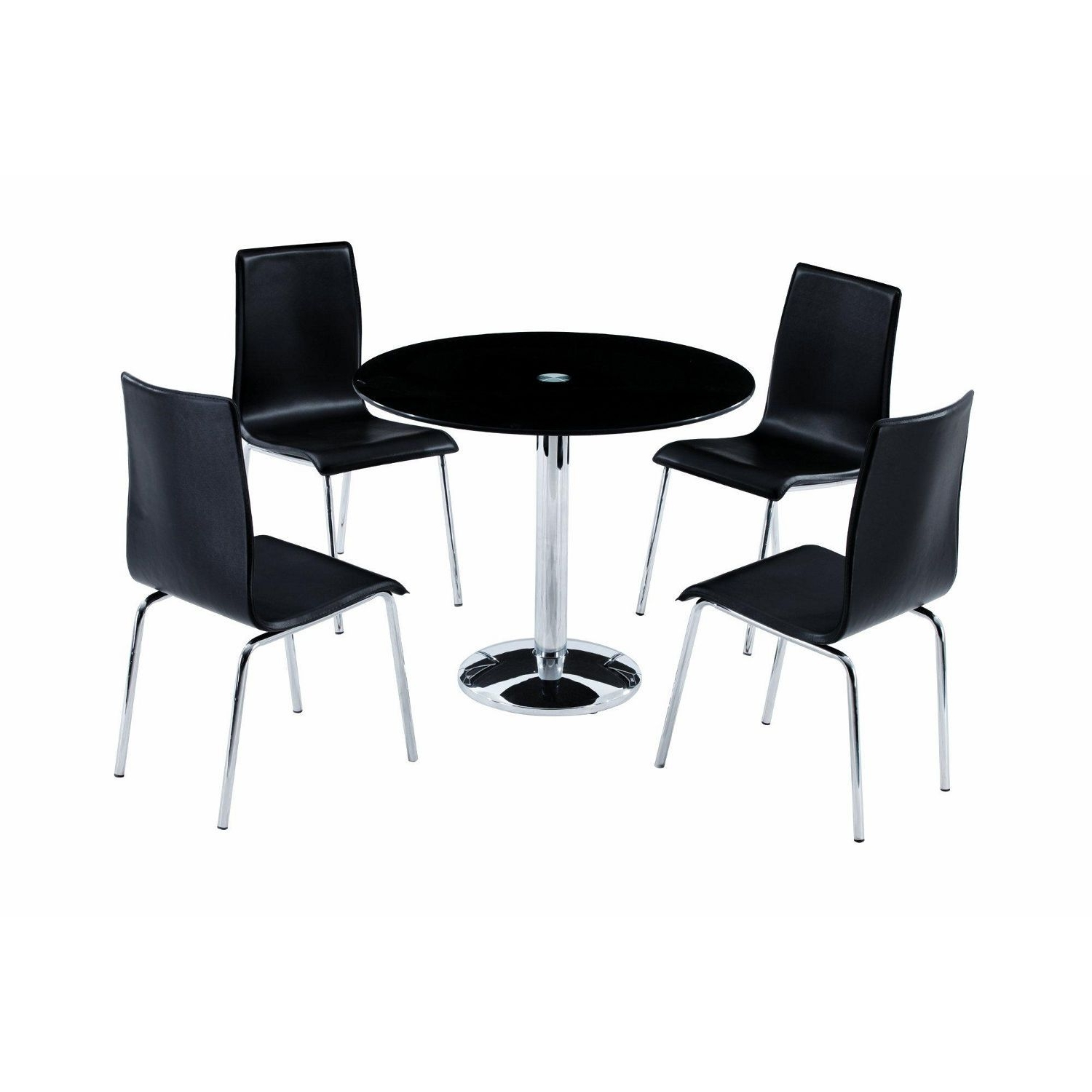 Favorite Round Black Glass Dining Tables And Chairs Regarding Round Black Glass Dining Table With Single Legs And Four Dining Room (View 11 of 25)