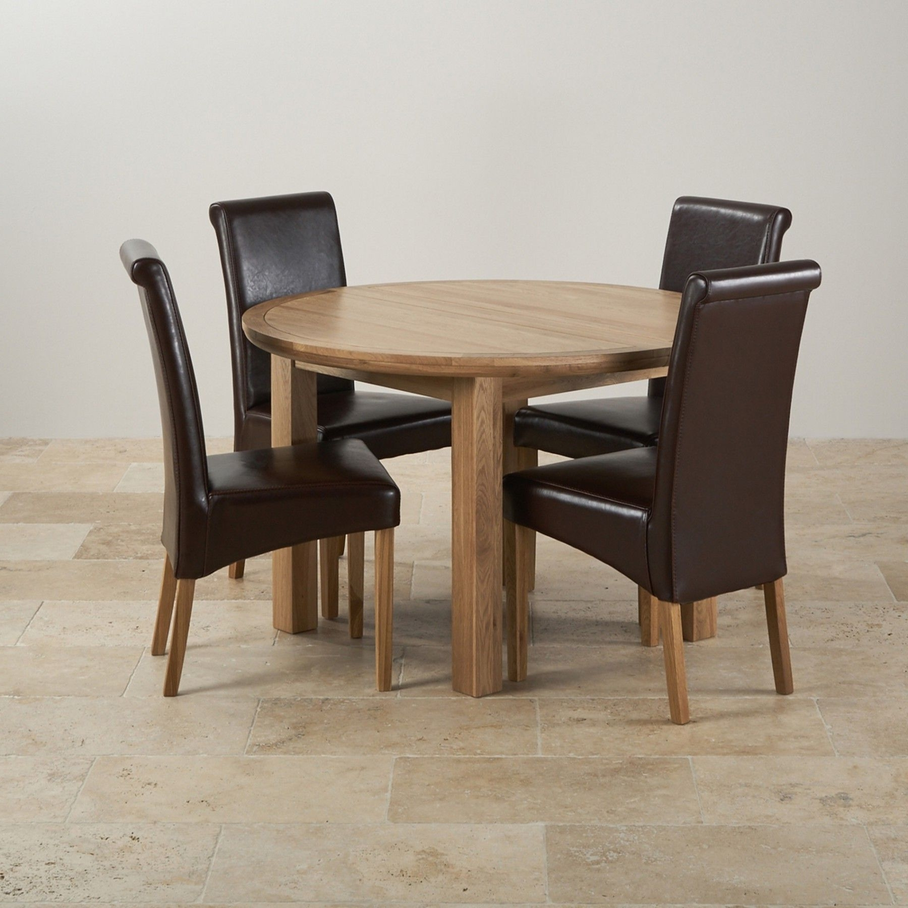Favorite Round Oak Dining Tables And 4 Chairs For Knightsbridge Natural Solid Oak Dining Set – 4Ft Round Extending (View 10 of 25)