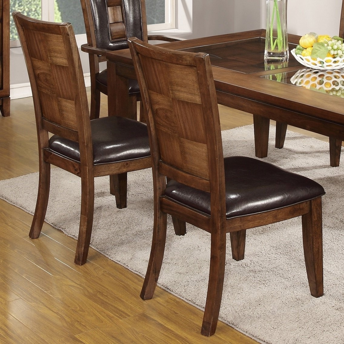 Favorite Shop Calais 7 Piece Parquet Finish Solid Wood Dining Table With 6 Regarding Parquet 7 Piece Dining Sets (View 5 of 25)