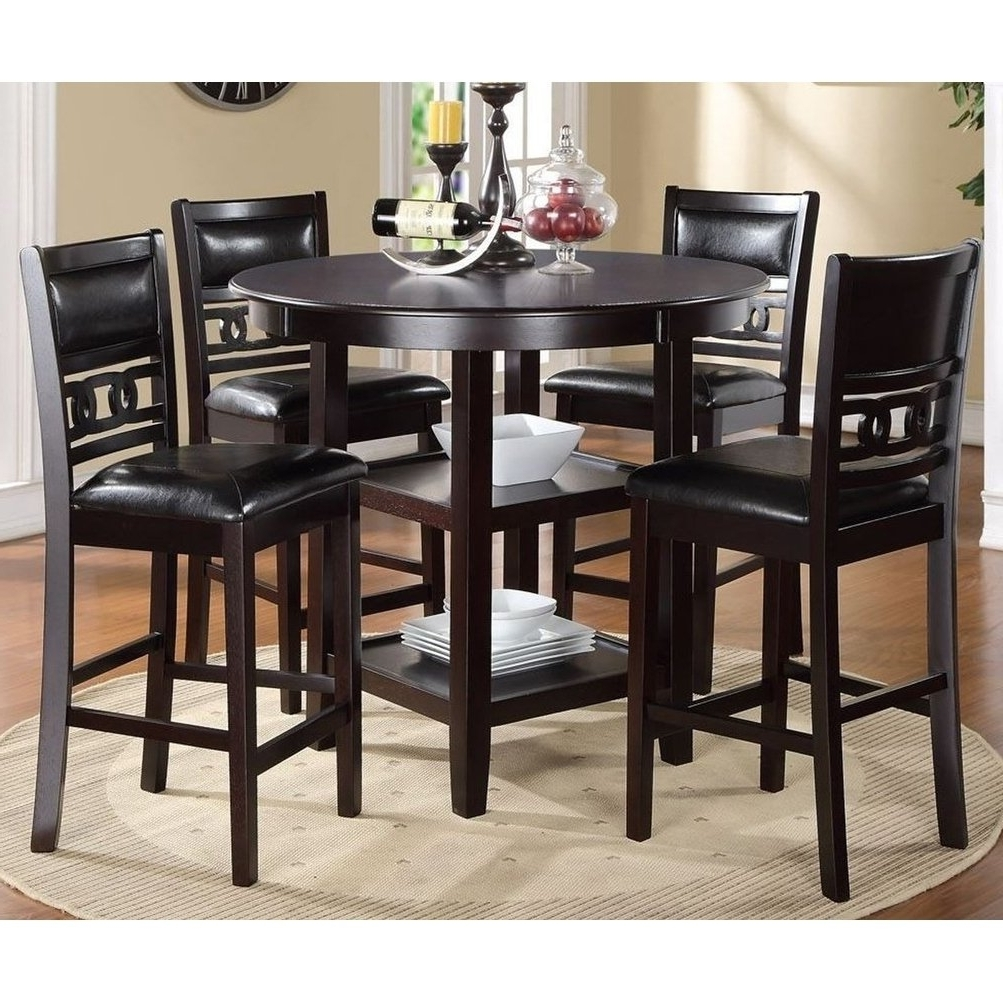 Favorite Shop Gia Ebony Counter Height Round Table 5 Piece Dining Set – Free In Harper 5 Piece Counter Sets (View 12 of 25)