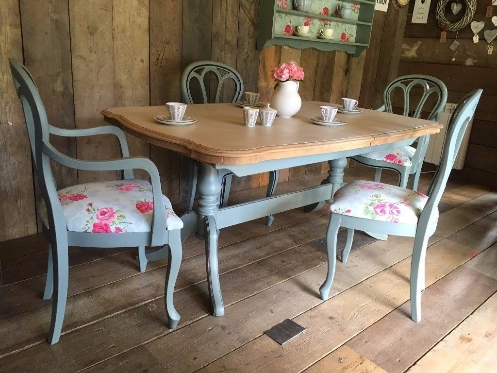 Favorite Upcycled Shabby Chic Painted Dining Table And 4 Chairs Duck Egg Blue For Shabby Chic Cream Dining Tables And Chairs (View 9 of 25)