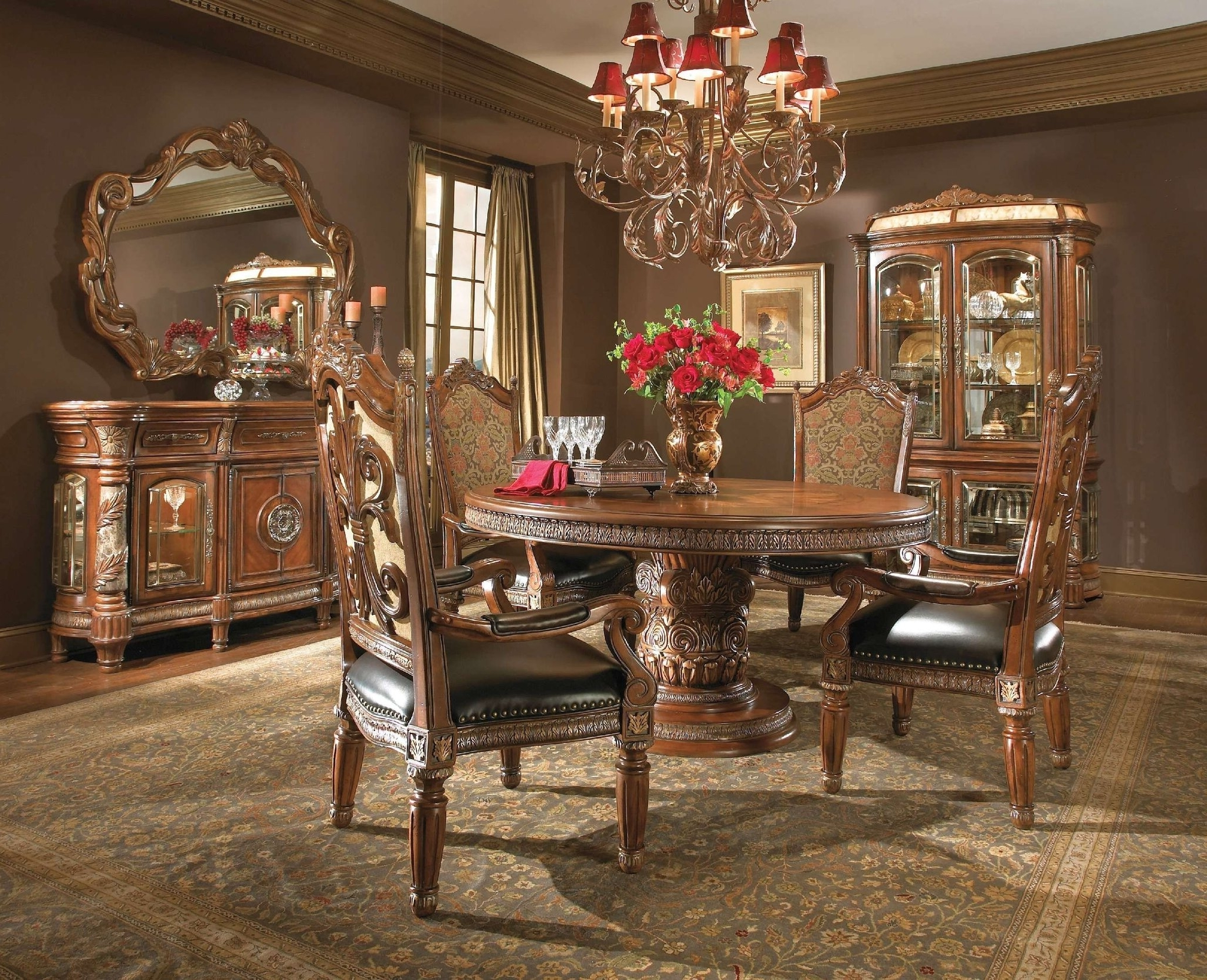 Favorite Valencia 5 Piece Round Dining Sets With Uph Seat Side Chairs Regarding Villa Valencia Formal Round Dining Room Collectionaico – Dining (View 11 of 25)